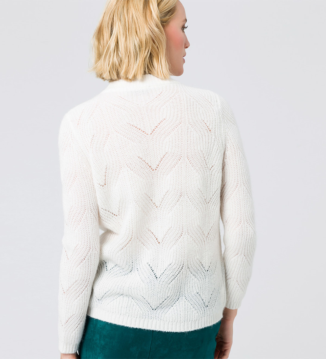 Pullover mit Strickmuster in wool white