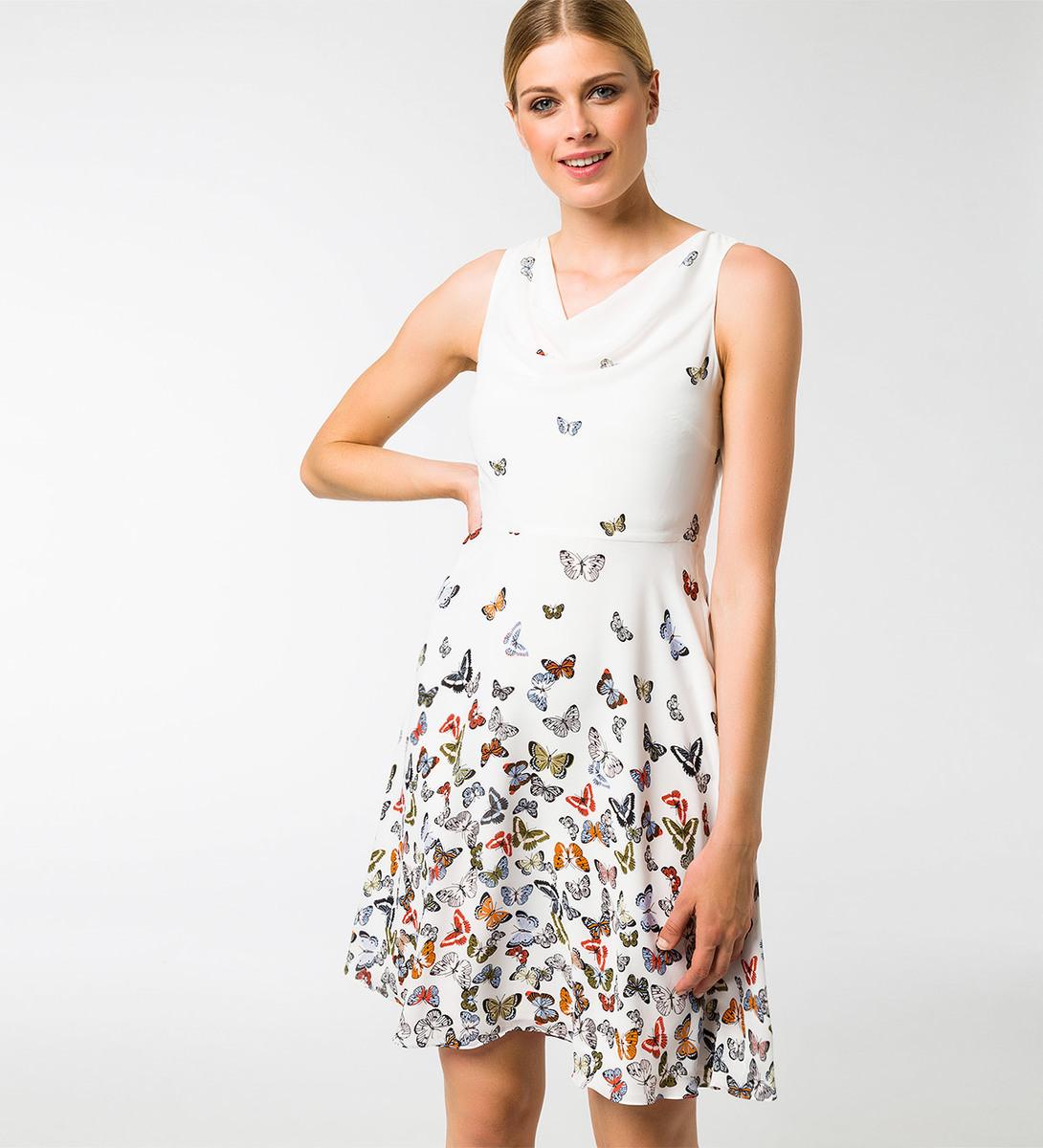 Kleid mit Schmetterlingen in offwhite
