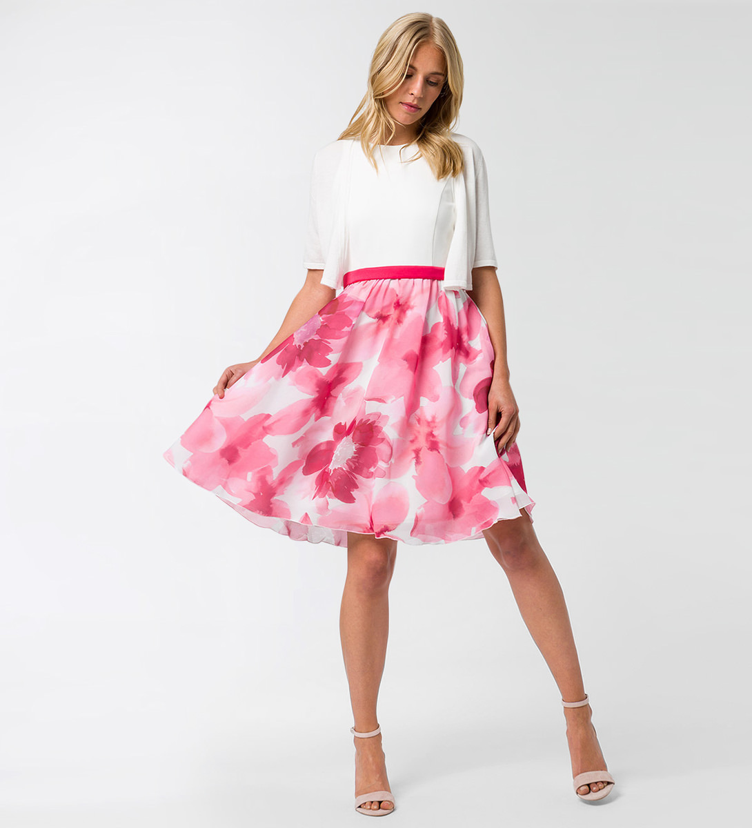 Kleid mit Taillenband in bright pink