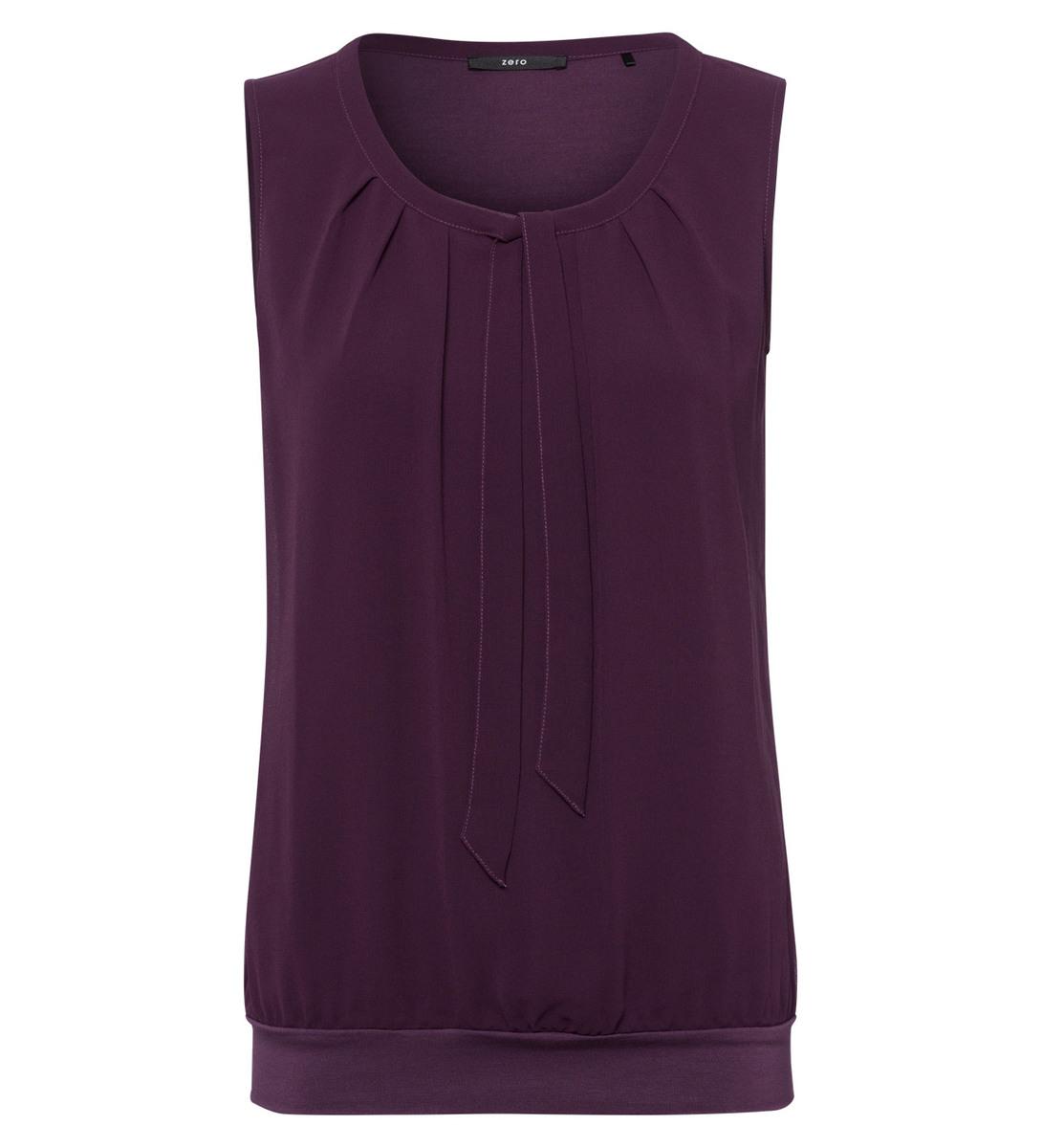 Bluse mit Bindedetail und Faltenwurf in plum