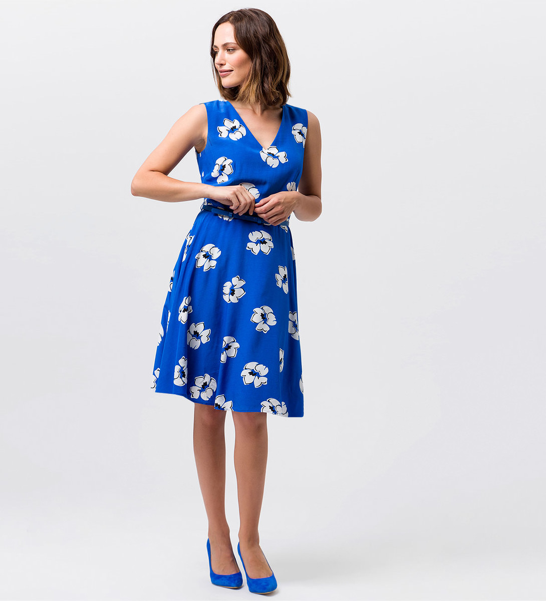Kleid mit V-Ausschnitt in cobalt blue
