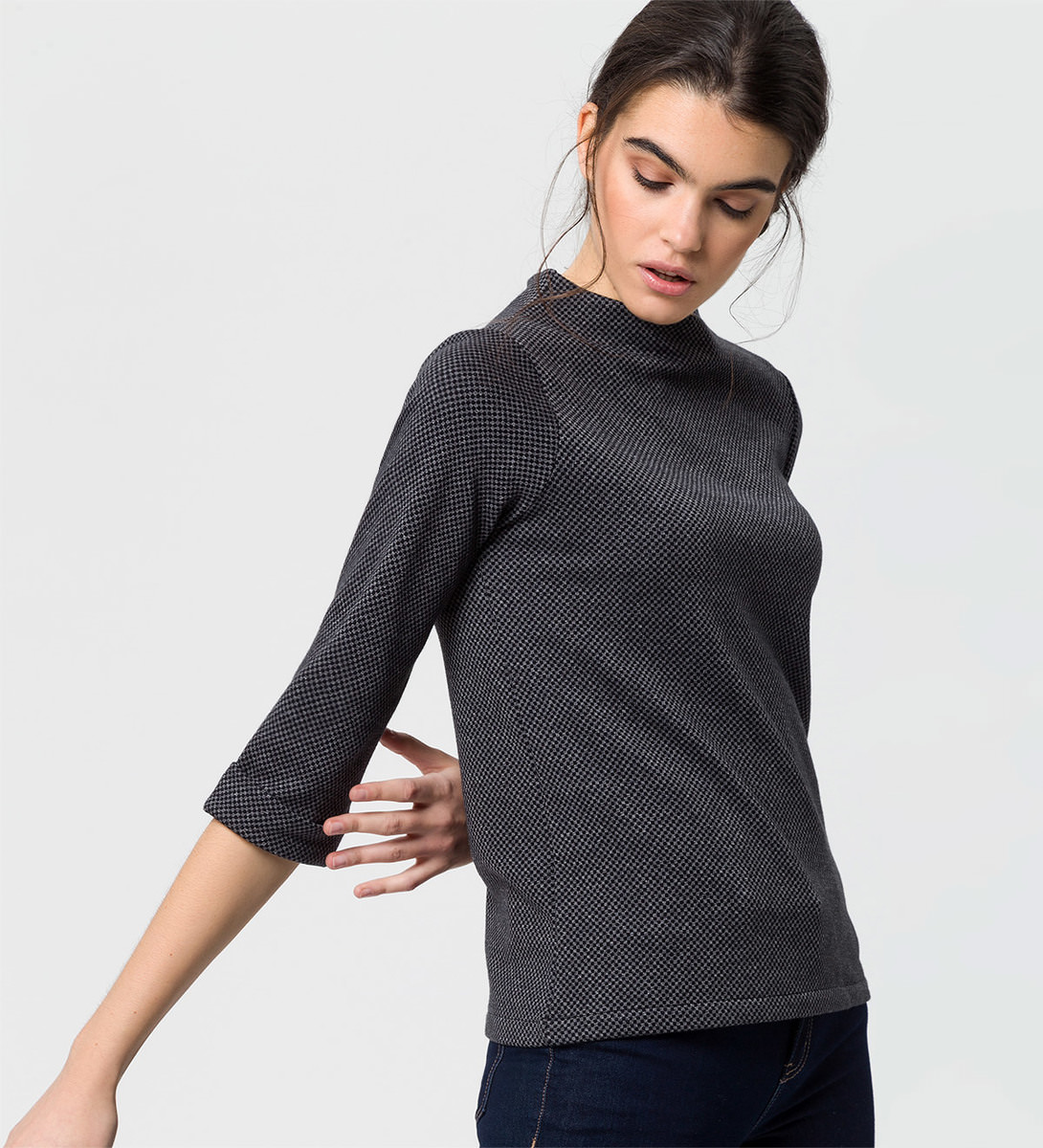 Shirt mit Minimalmuster in black