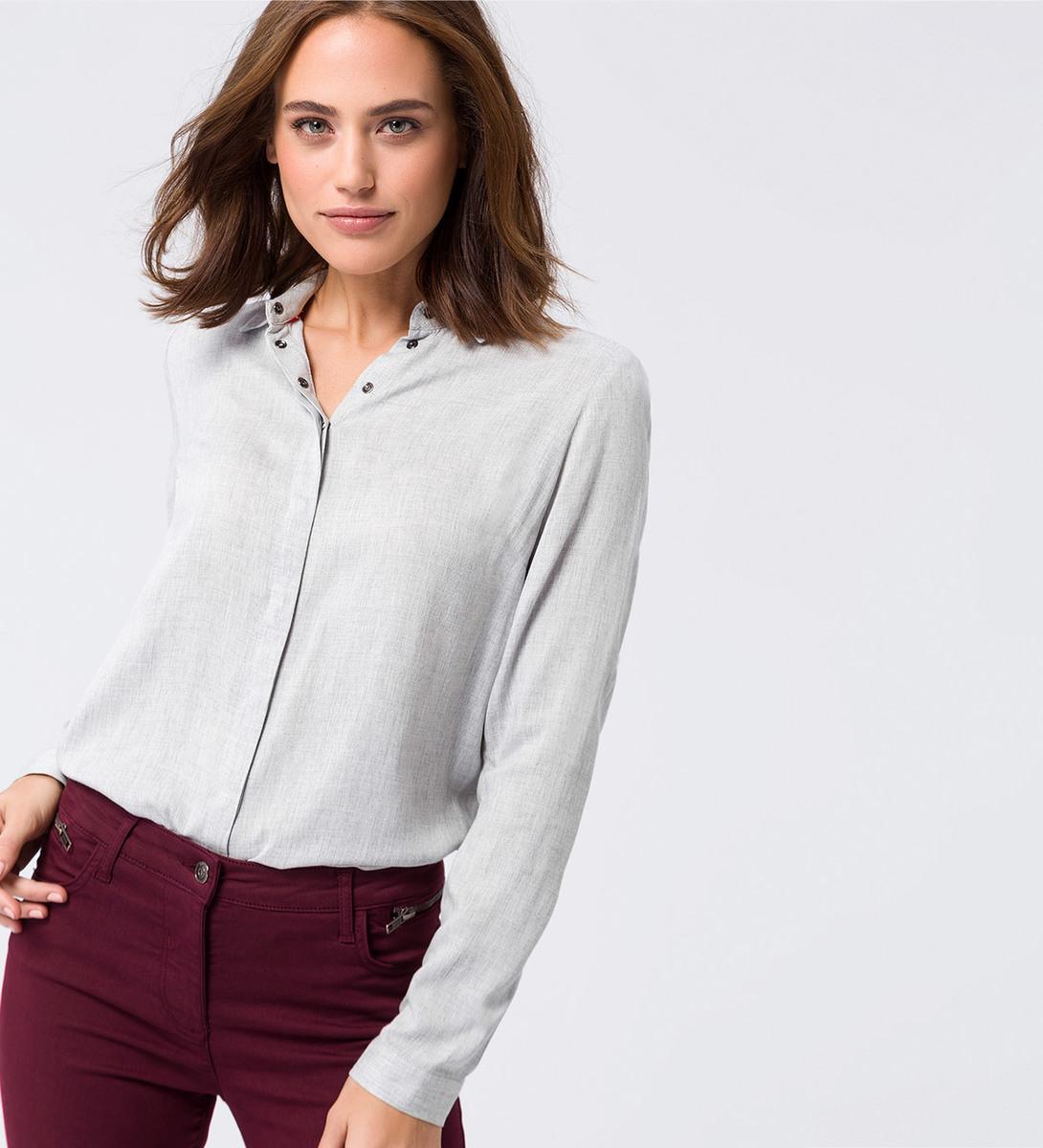 Bluse aus Viskose in stone grey