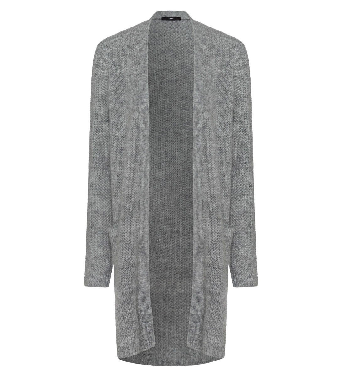 Strickjacke im unifarbenen Design in stone grey