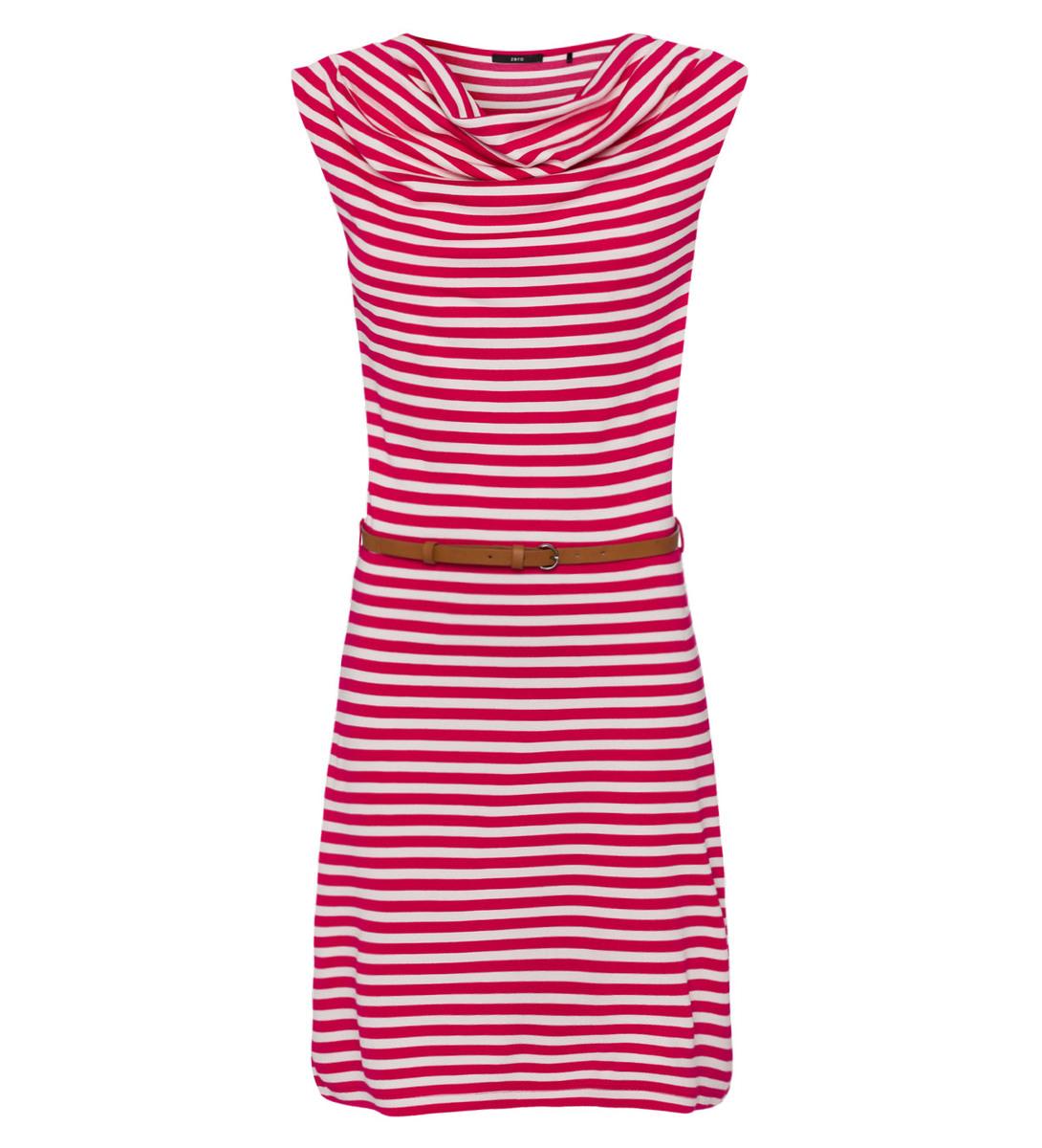 Kleid mit Streifen in bright pink