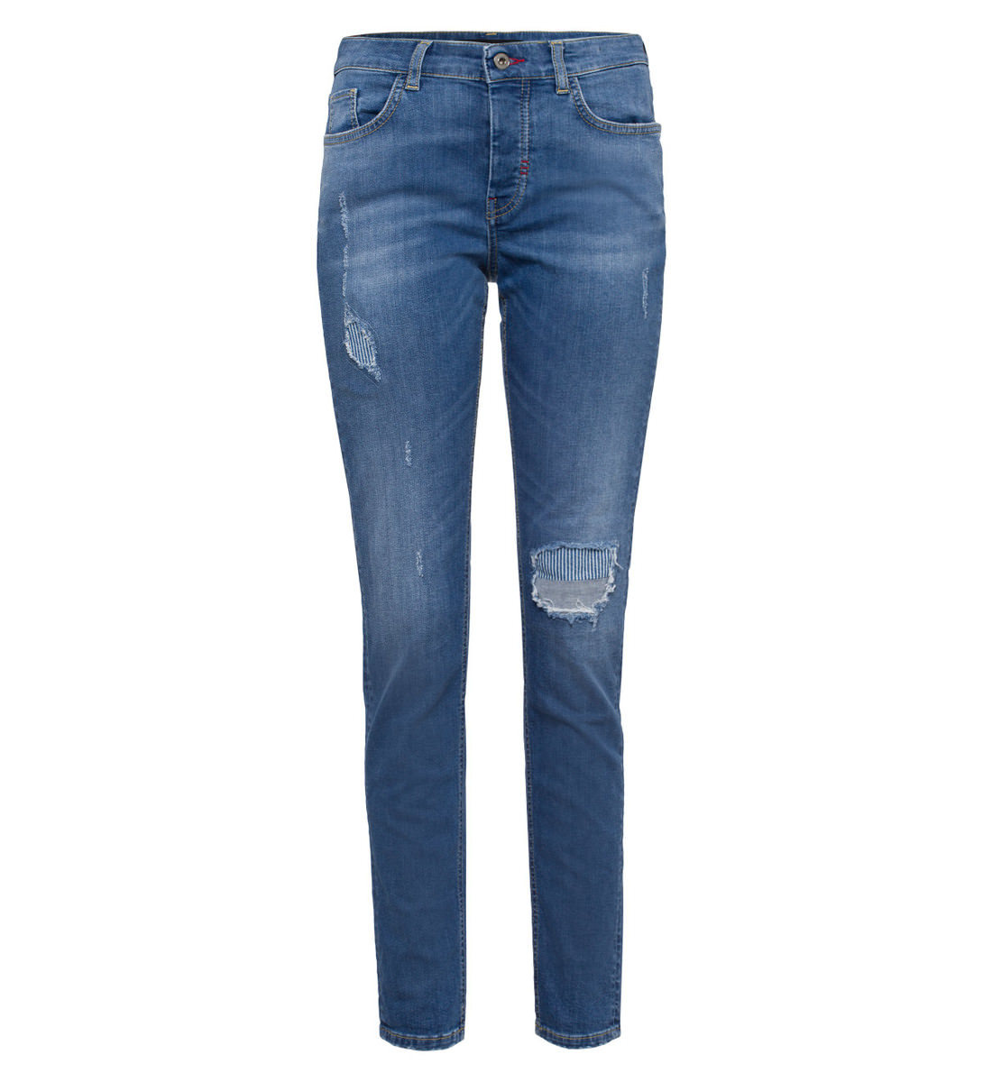 Jeans im Used-Look 30 Inch in mid blue denim striped destroy