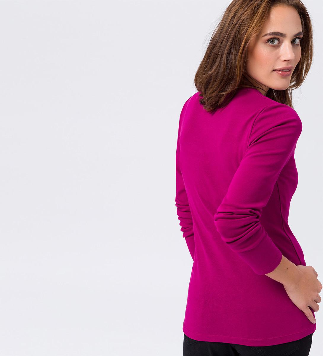 Langarmshirt mit Rundhalsausschnitt in dark magenta