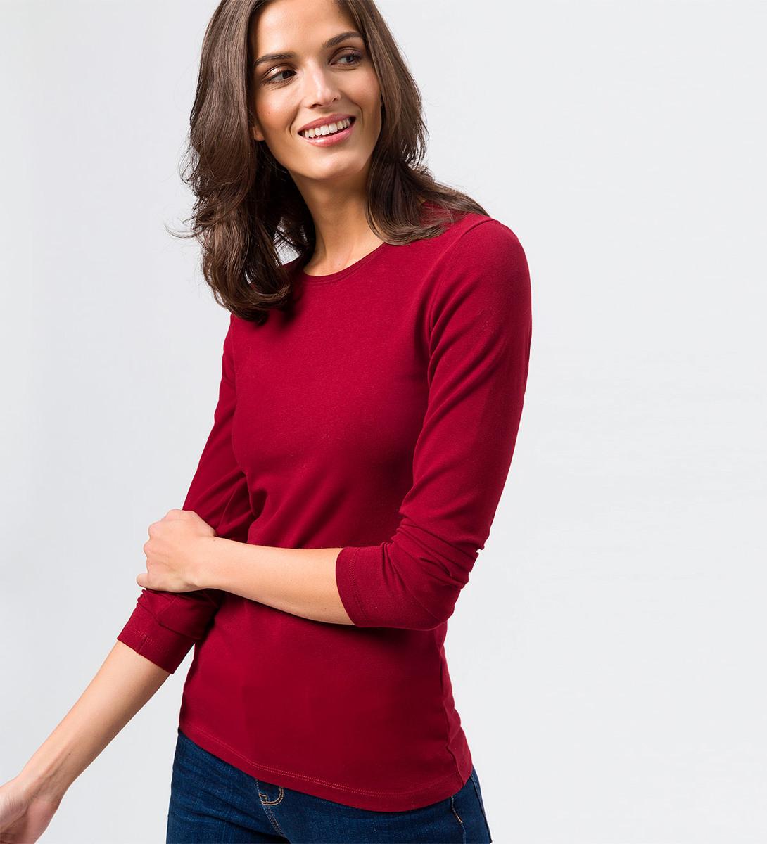 Langarmshirt mit Rundhalsausschnitt in wine red