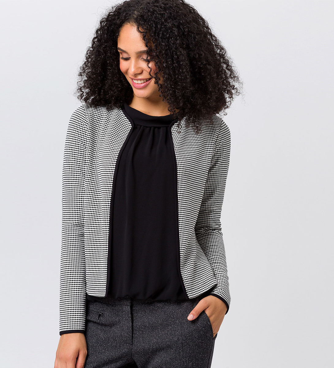 Jersey Cardigan mit Minimal-Muster in offwhite
