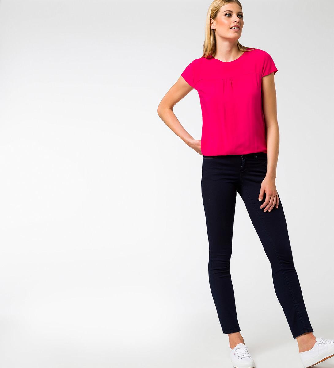 Bluse im unifarbenen Design in bright pink