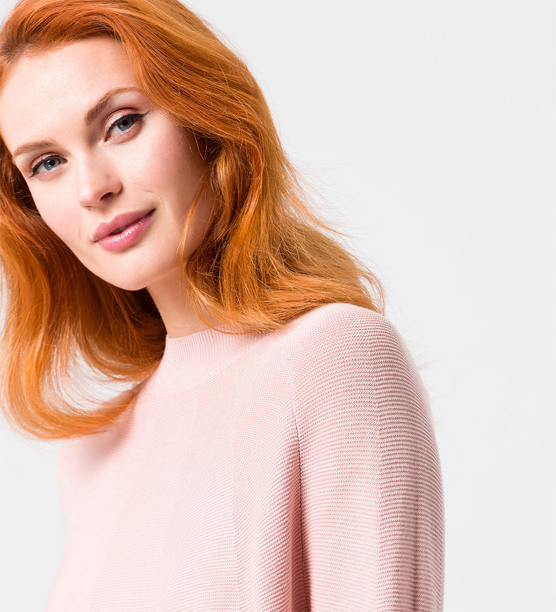 Pullover mit Turtleneck in rose parfait