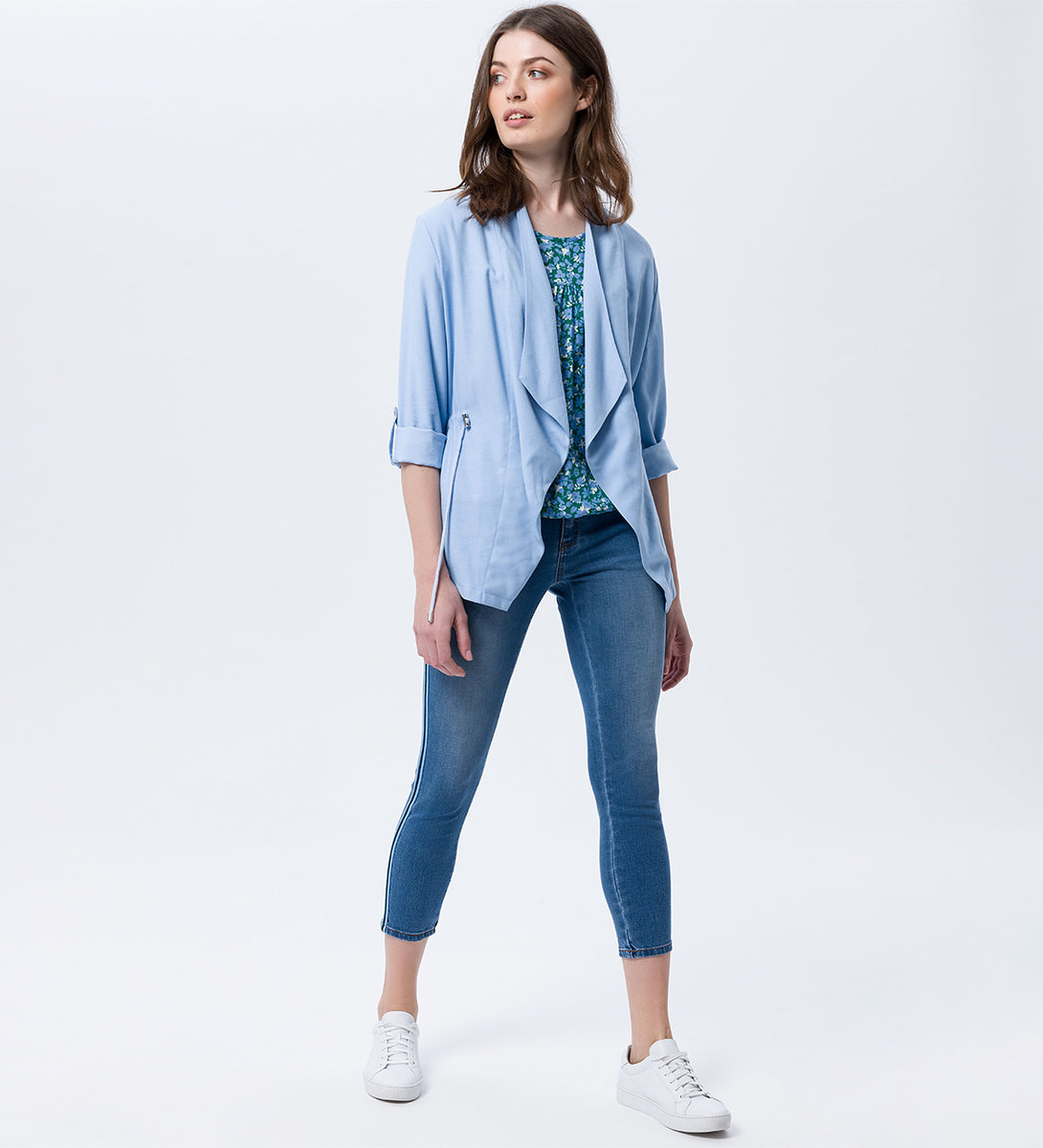 7/8-Jeans mit Galonstreifen in light blue