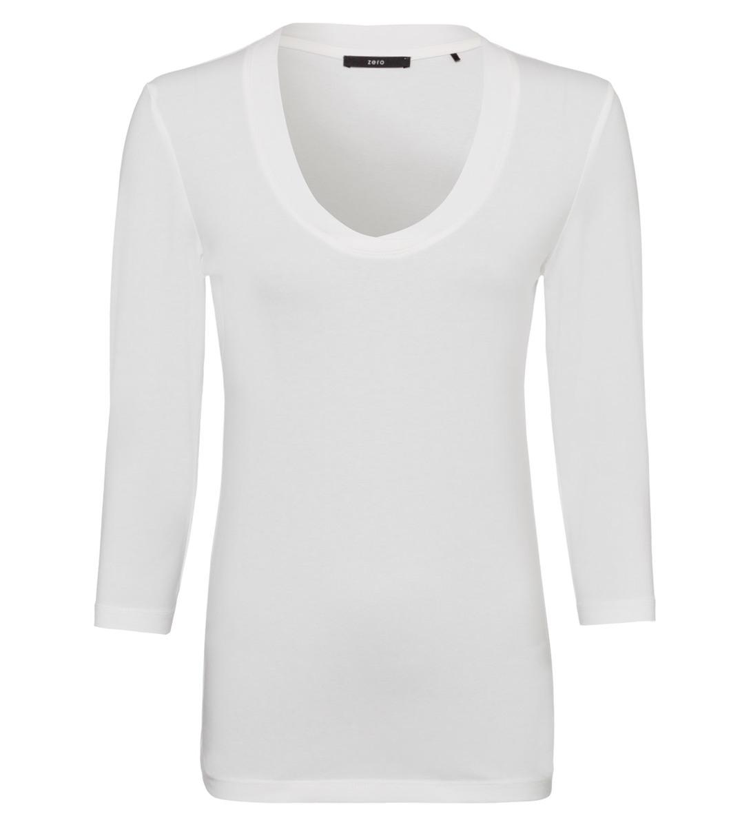 Shirt mit tiefem Ausschnitt in offwhite