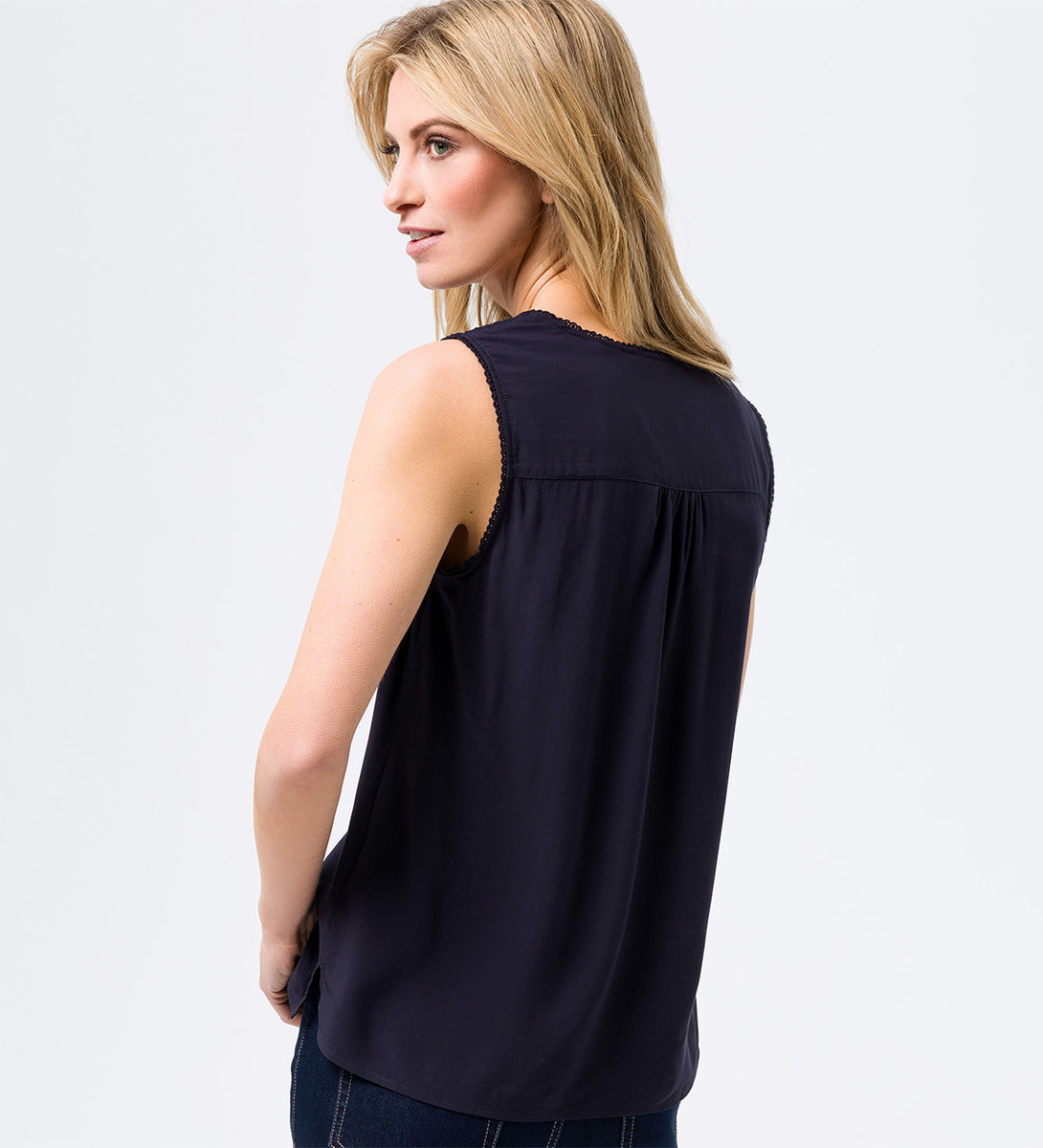 Bluse mit Spitzendesign in dark blue