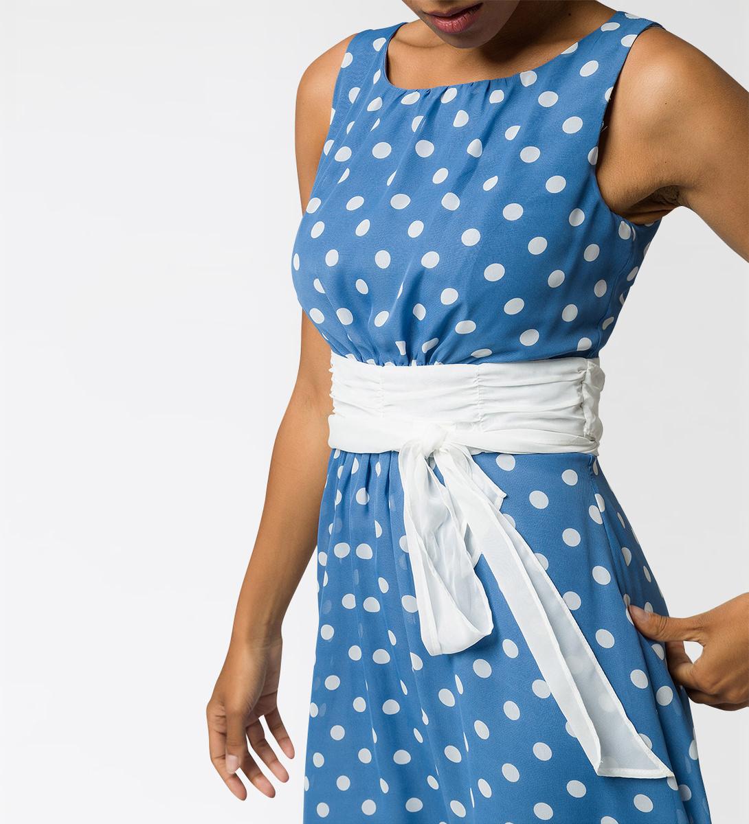 Kleid mit Alloverprint in water blue