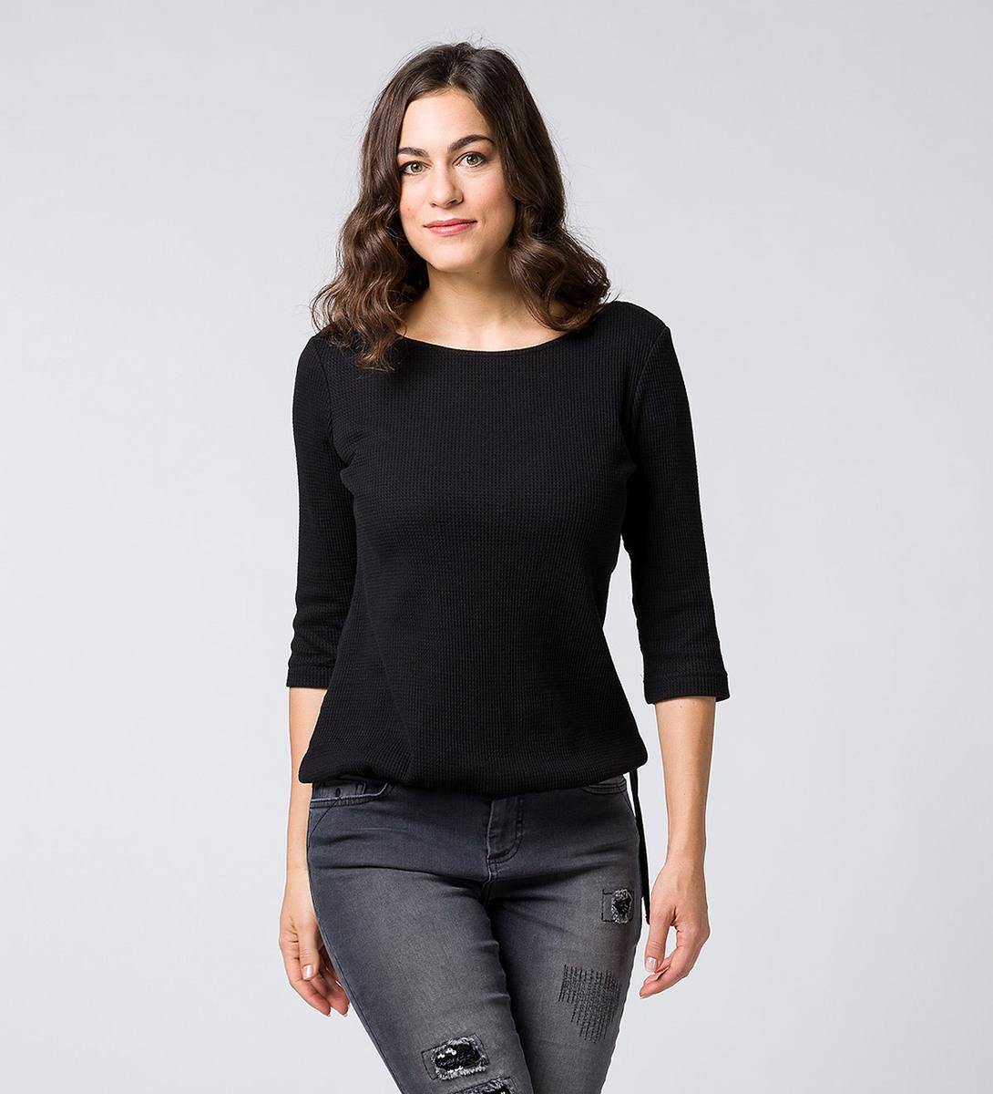 Jerseysweater in Strukturoptik black