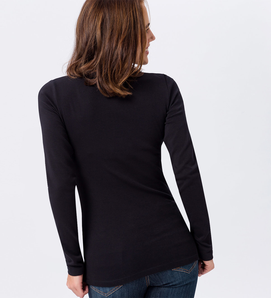 Langarmshirt mit Rundhalsausschnitt in black