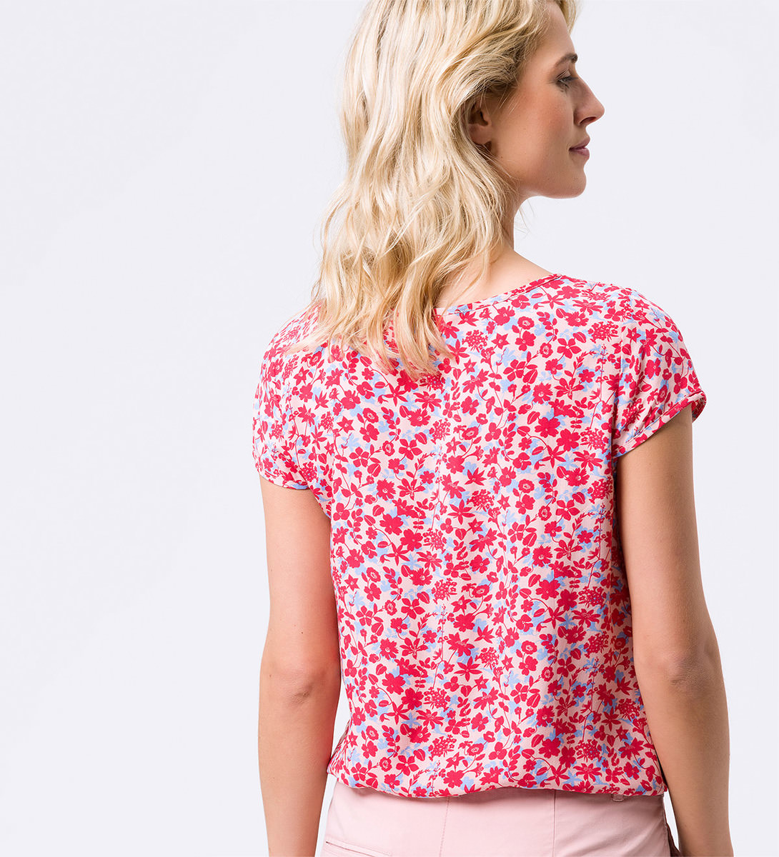 Bluse mit floralem Muster in dusty pink