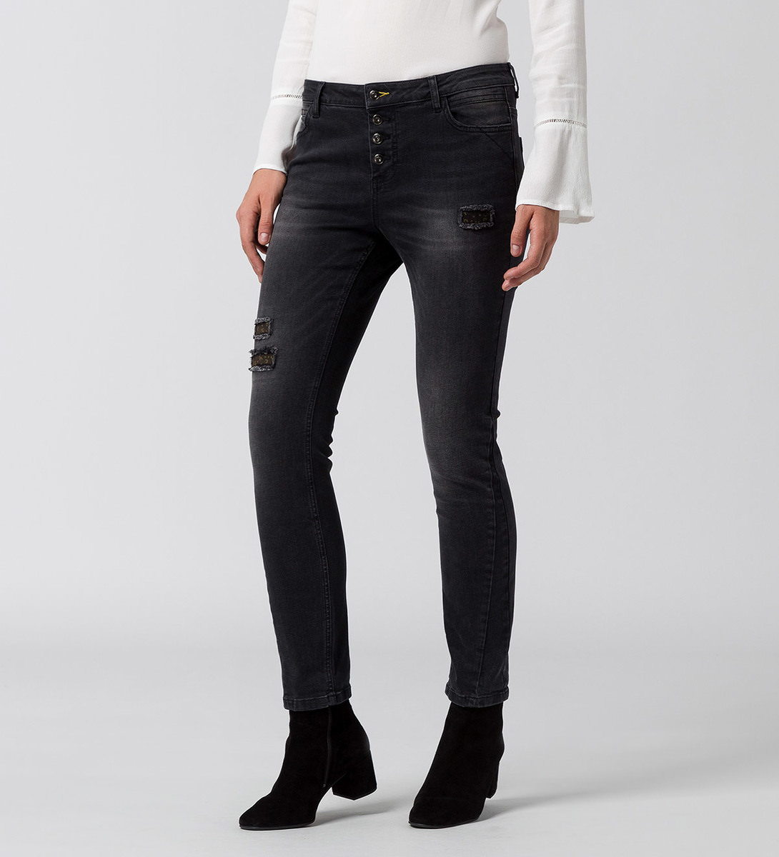 Jeans Georgia Style 30 inch grey denim destroyed wash
