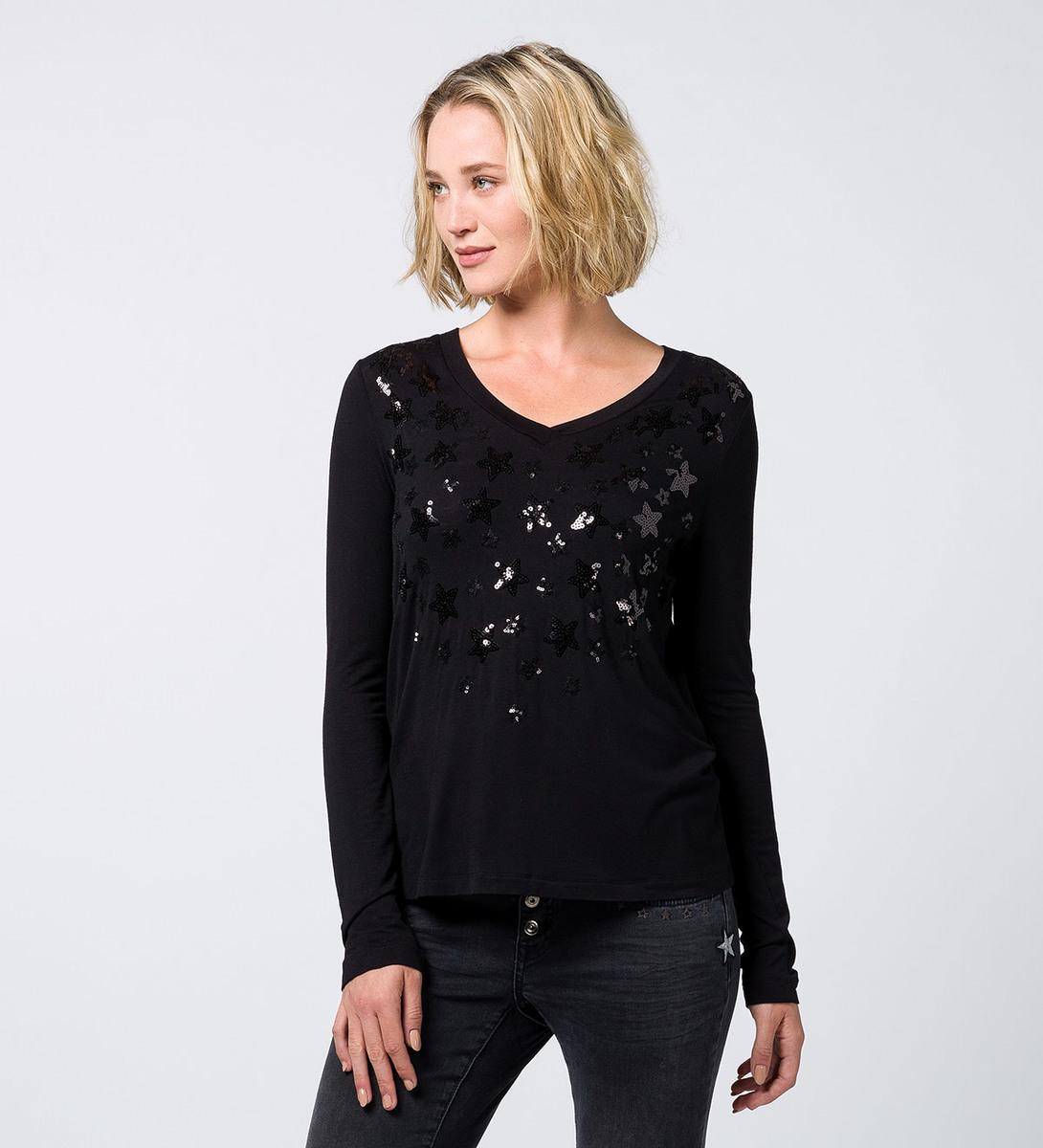 T-Shirt mit Applikationen black