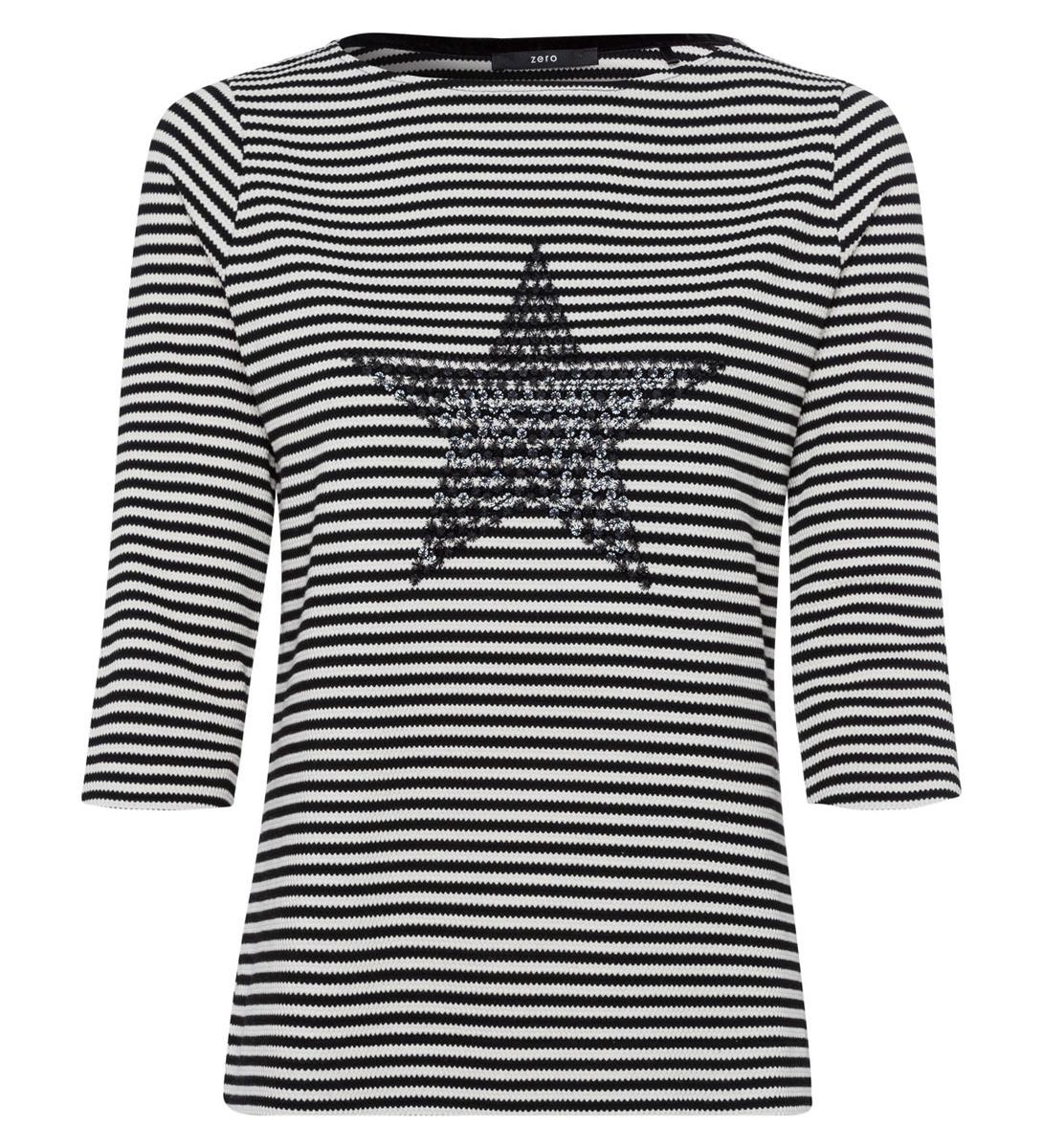 Shirt mit Streifen und Stickerei in black