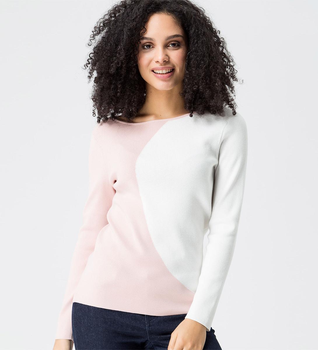 Pullover im Kontrast-Look in rose parfait