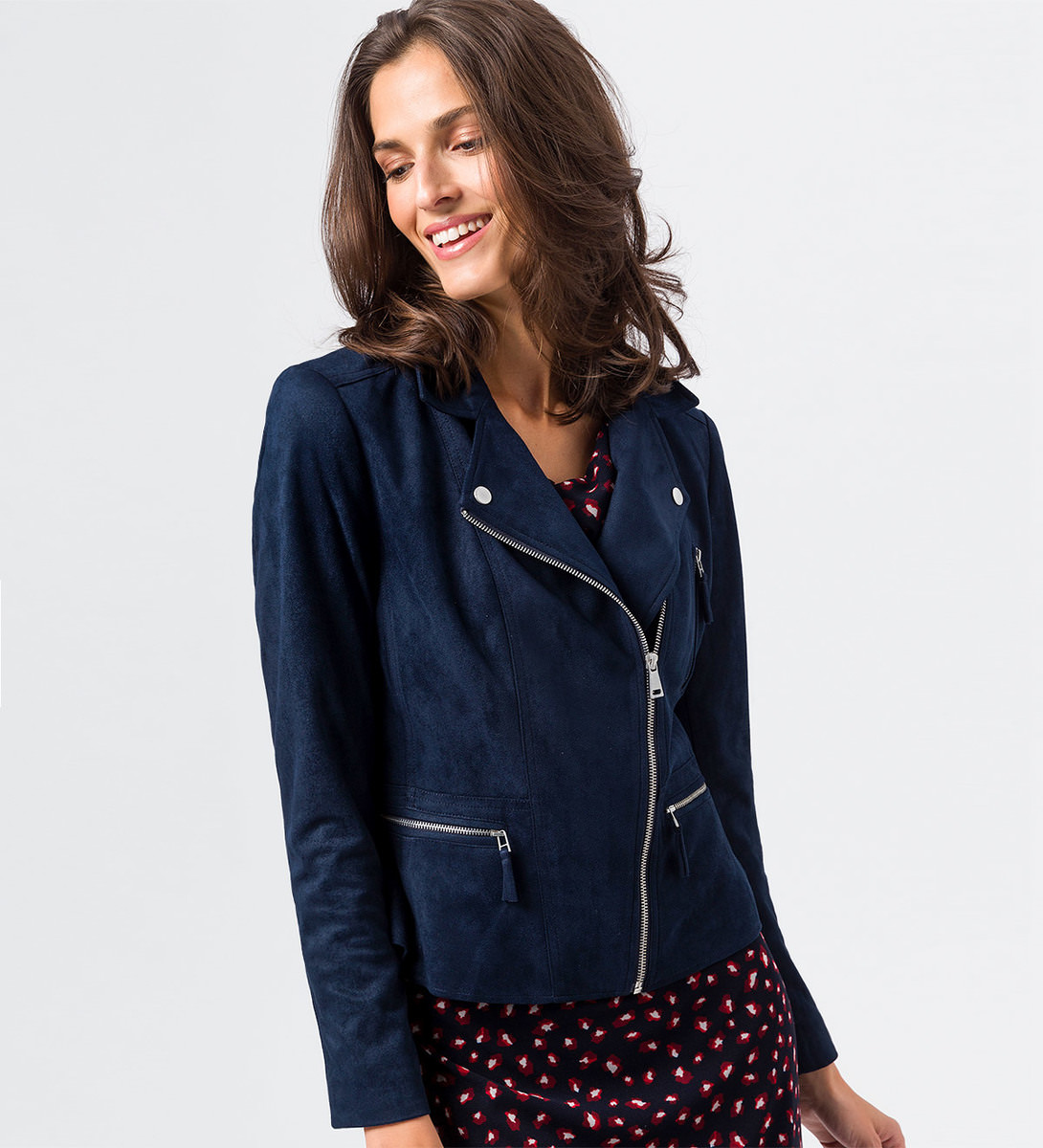 Jacke im Velours-Look in blue black