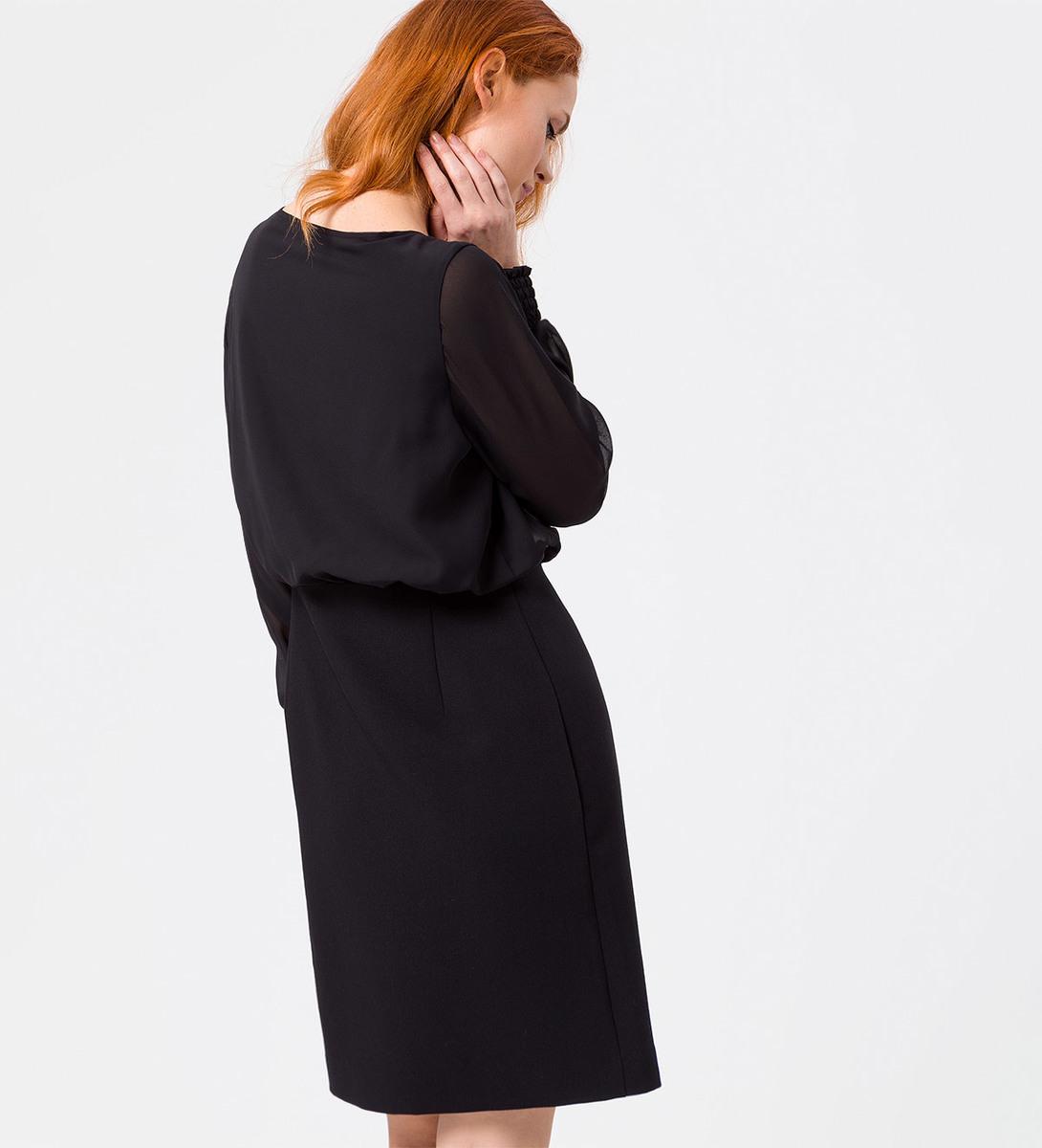 Kleid mit transparenten Ärmeln in black