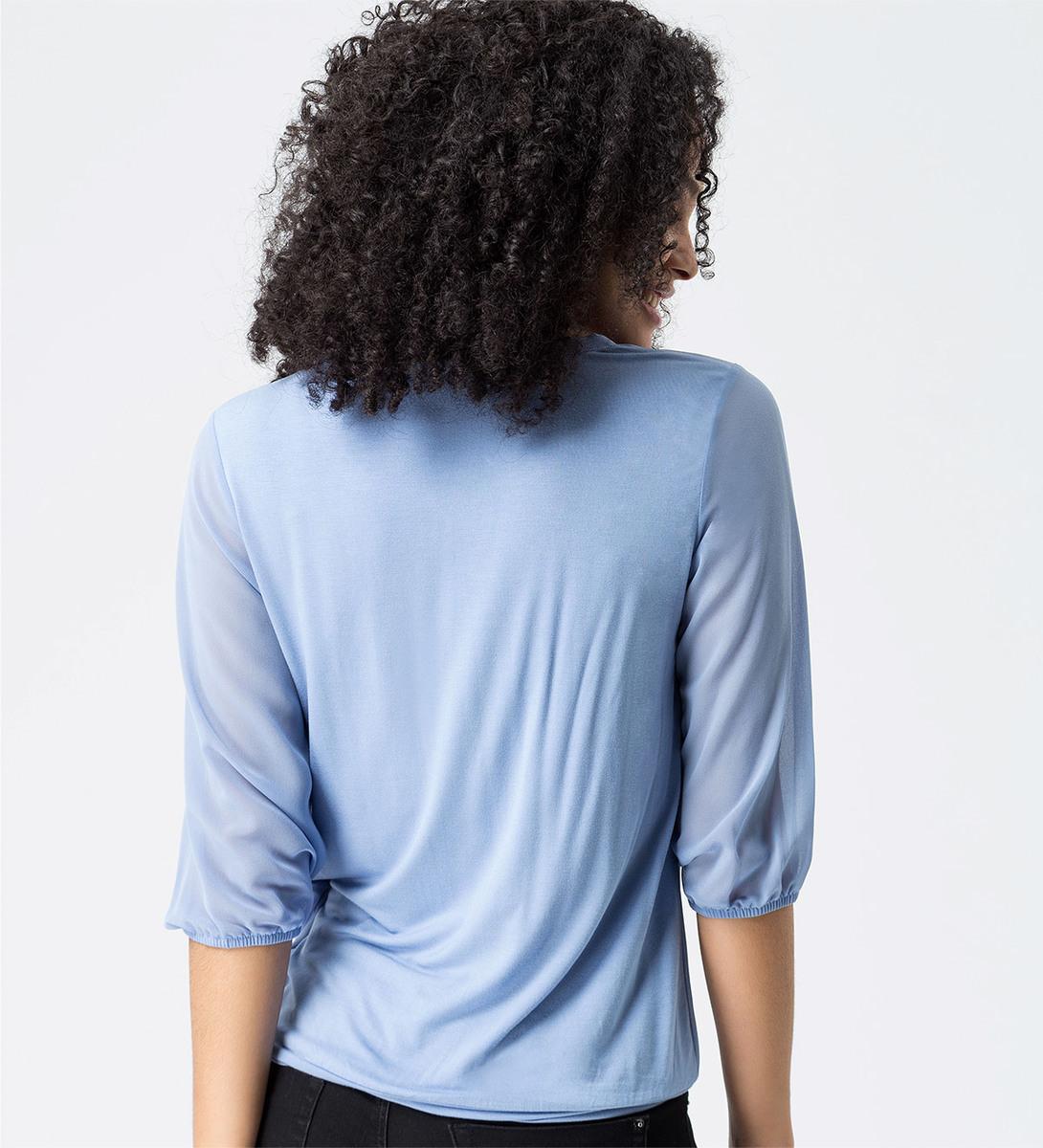 Bluse mit Schluppenkragen in shadow blue