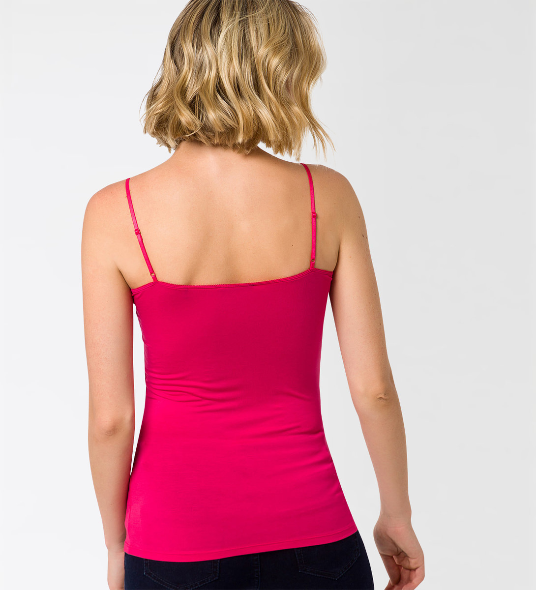 Top Tessa mit Spitzenborte in bright pink