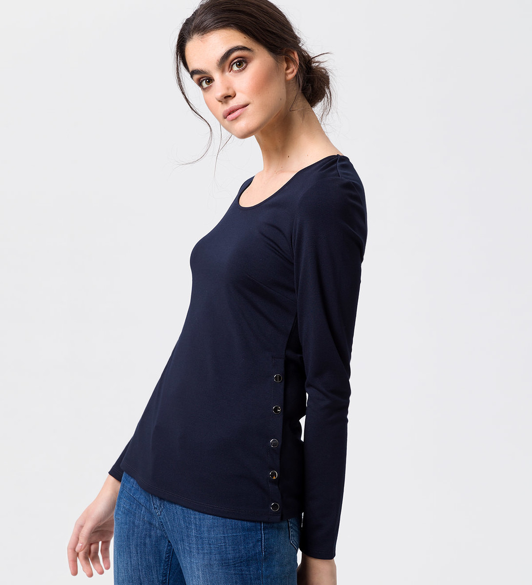 Shirt mit Druckknöpfen an der Seite in blue black