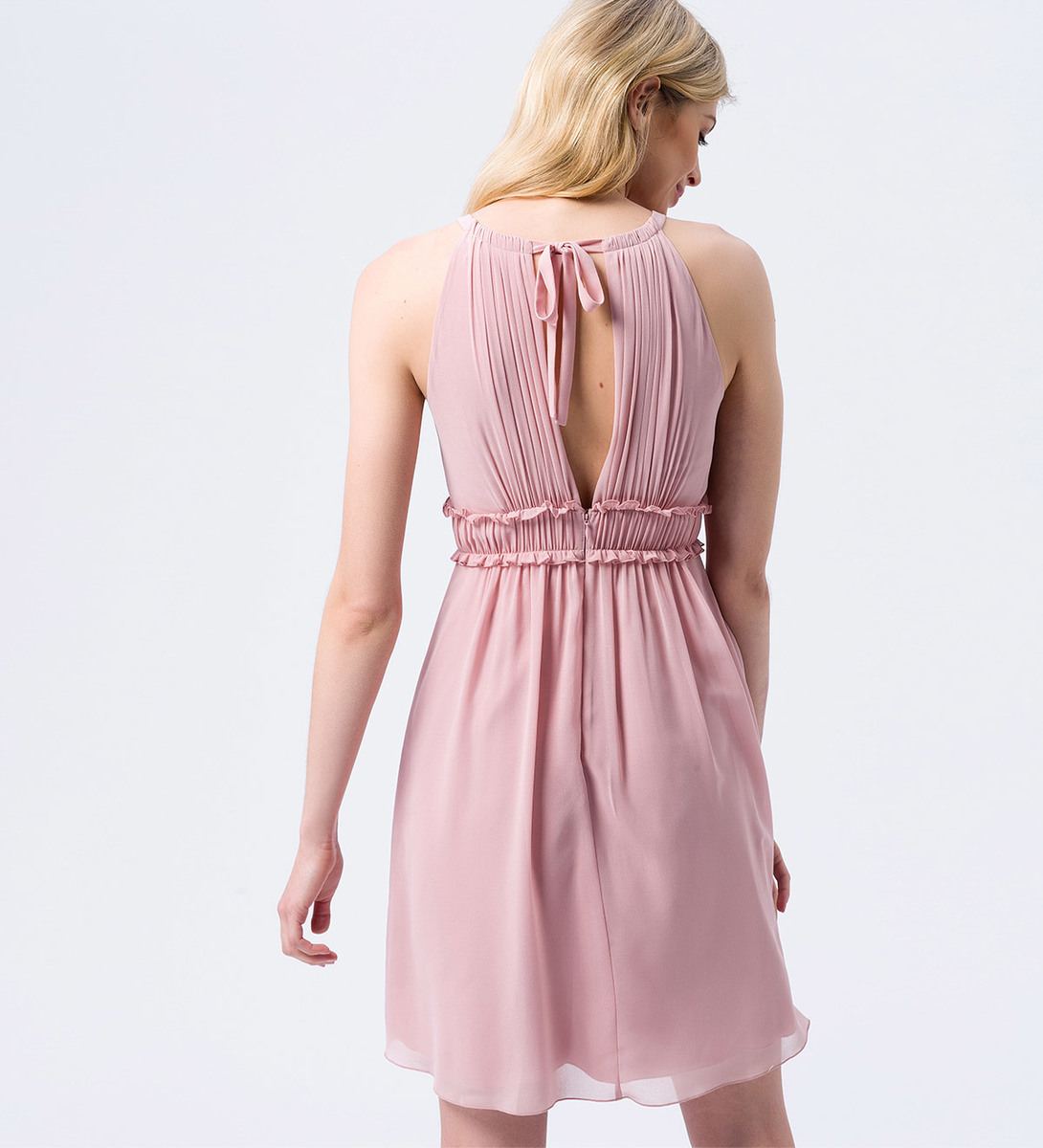 Kleid im Neckholder-Design in rose