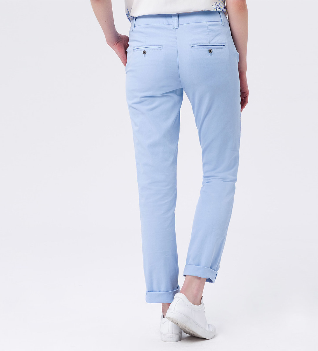 Hose Chino in unifarbenem Design 32 Inch in blue