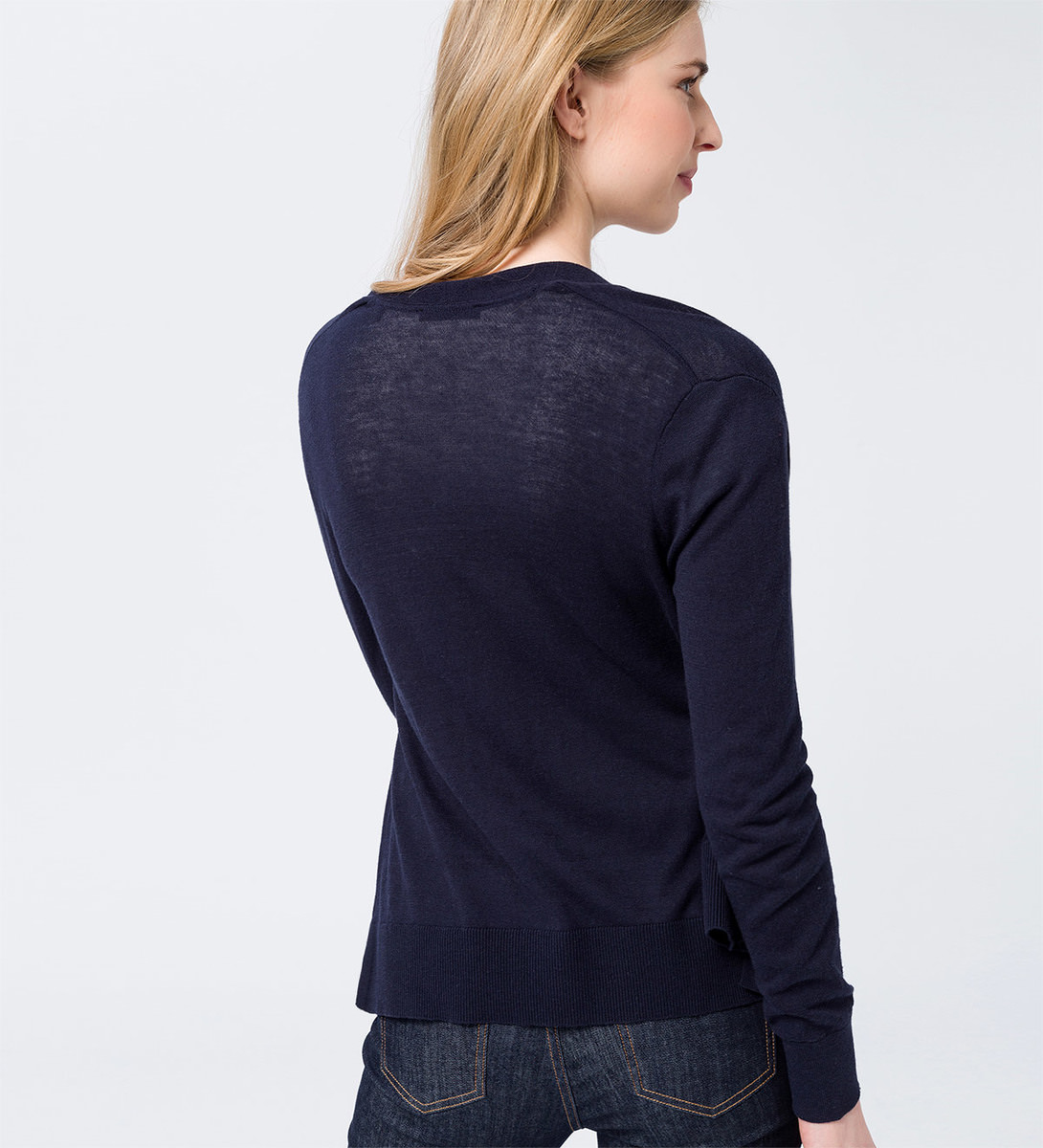 Cardigan in knopflosem Design in blue