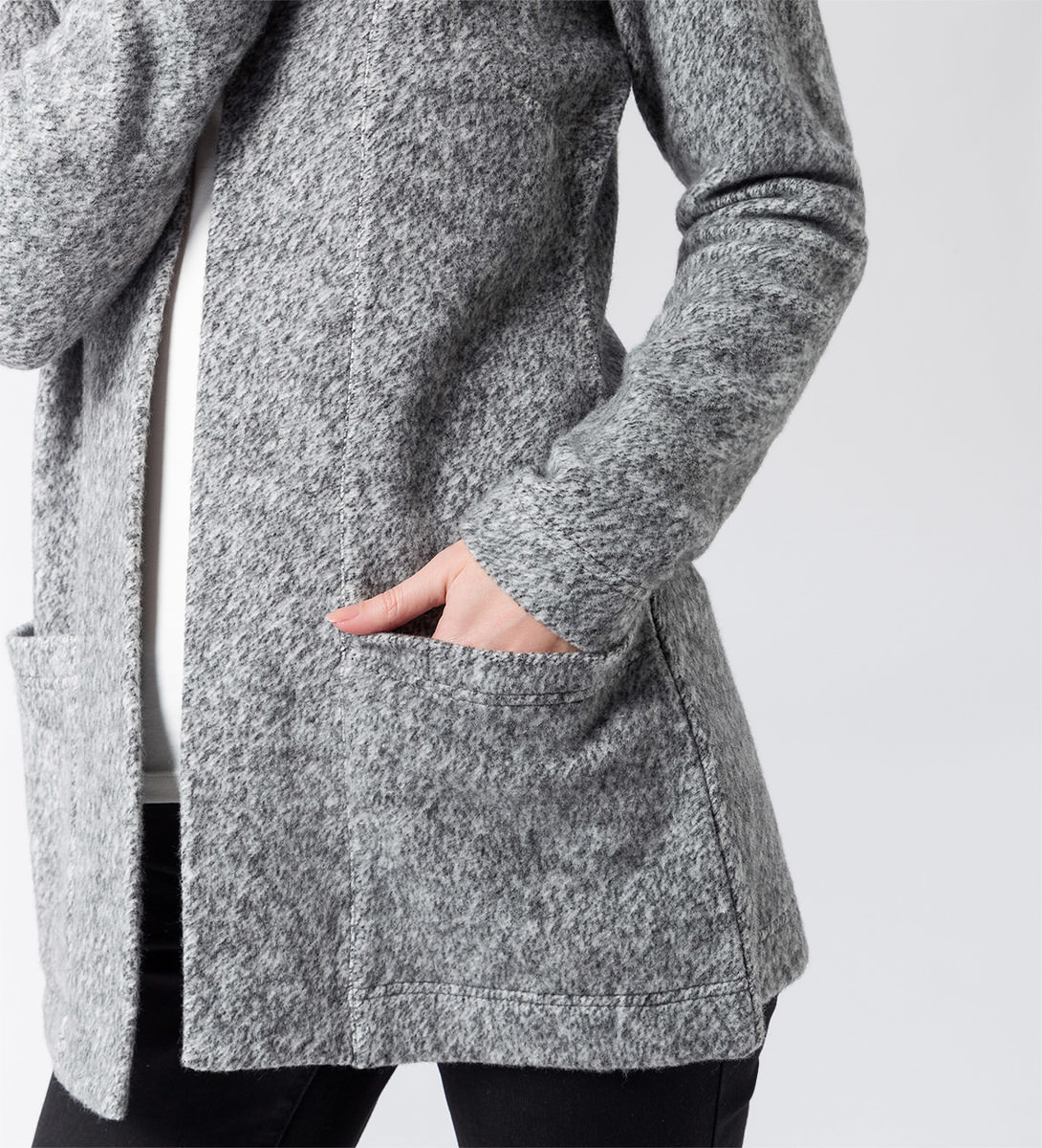 Cardigan mit weicher Struktur in silver grey-m