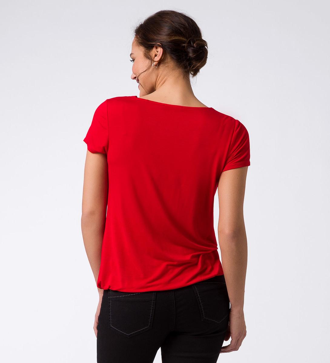 T-Shirt mit Lagenausschnitt in flame red