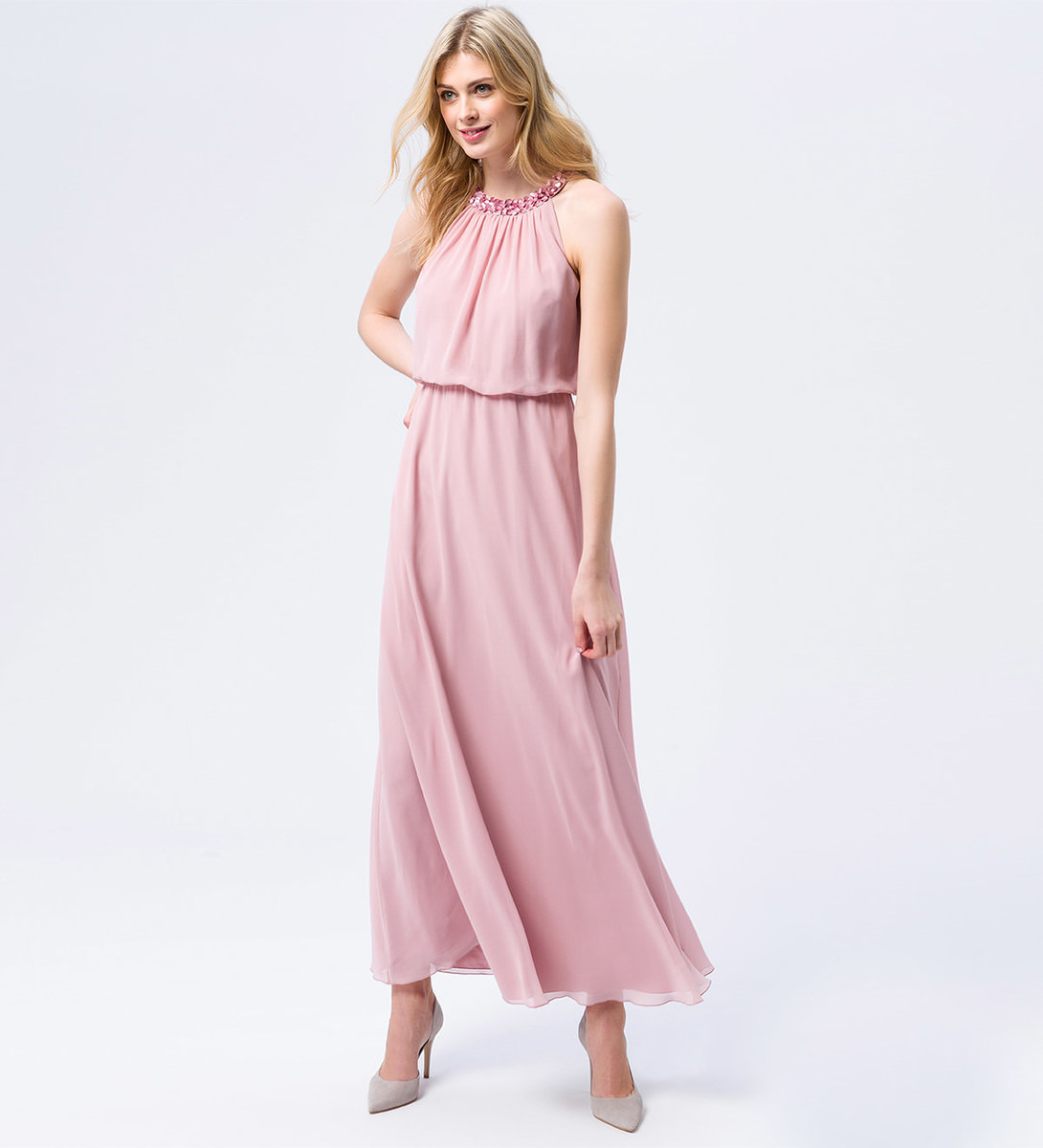 Kleid mit Paillettenkragen in marshmallow rose