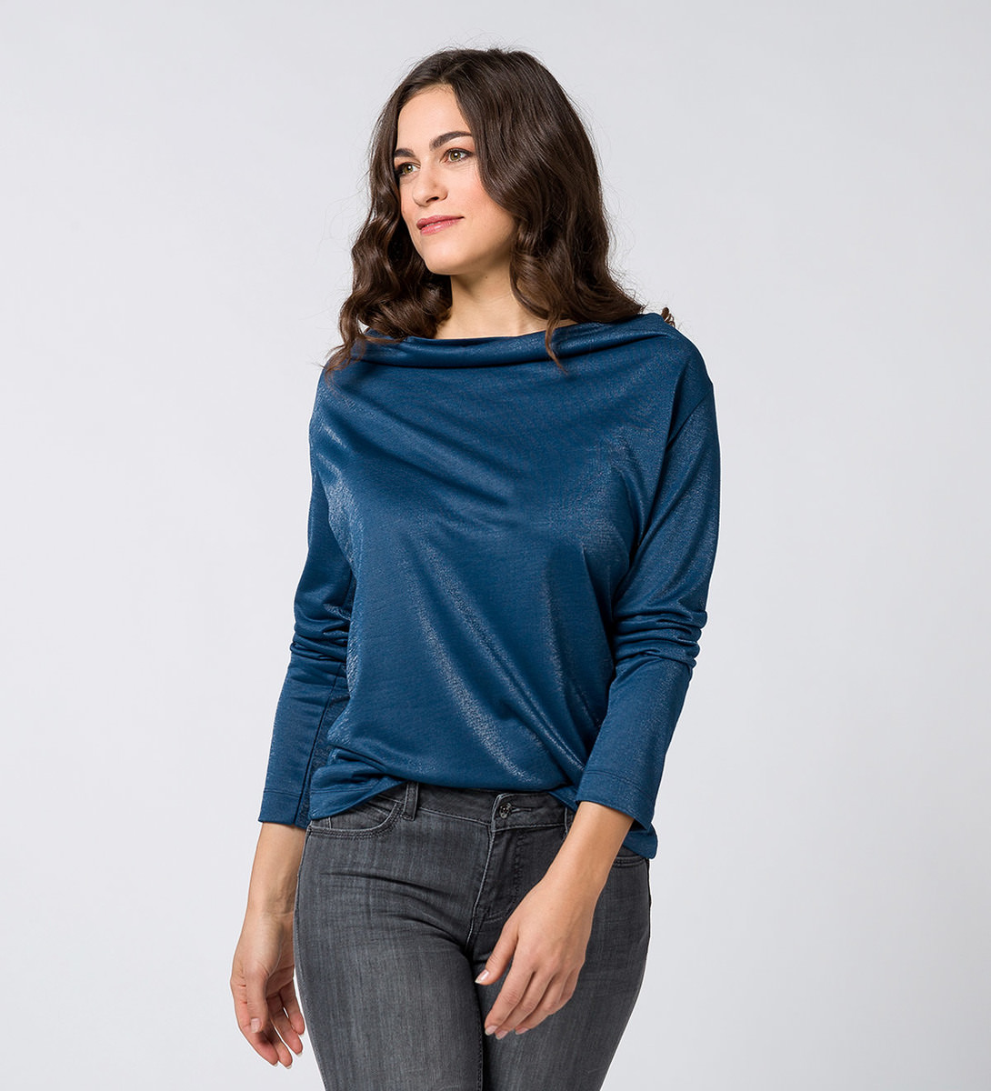 T-Shirt mit Wasserfallausschnitt petrol blue-m