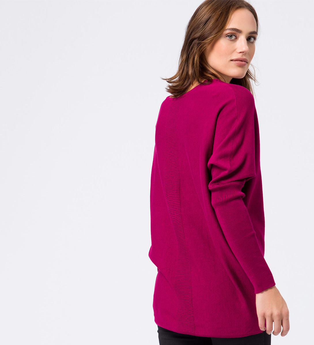 Pullover in Feinstrickqualität in dark magenta