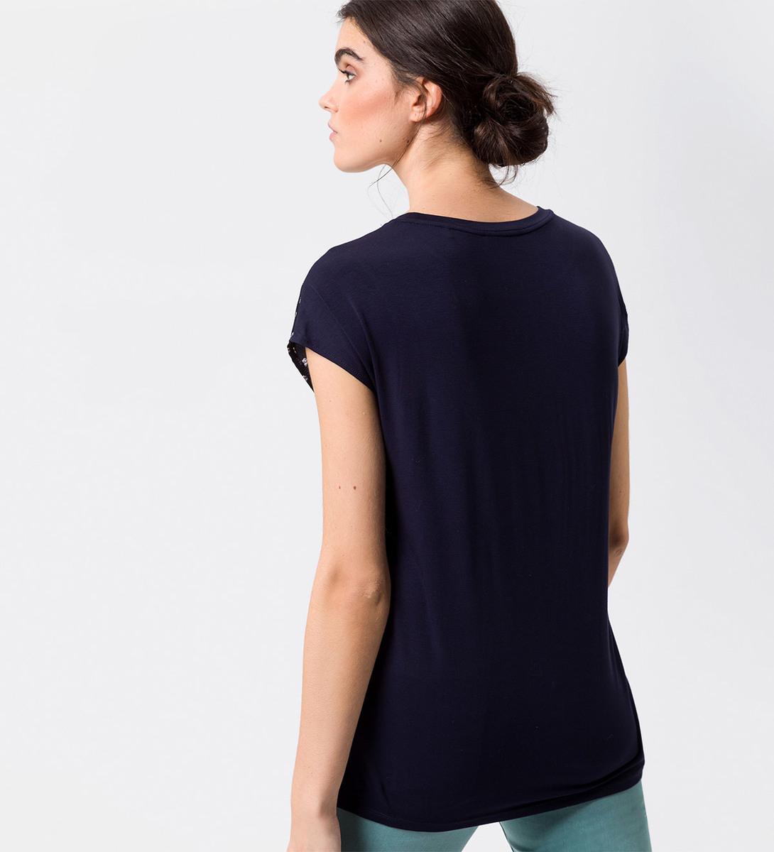 Blusenshirt mit zweilagiger Front in blue black