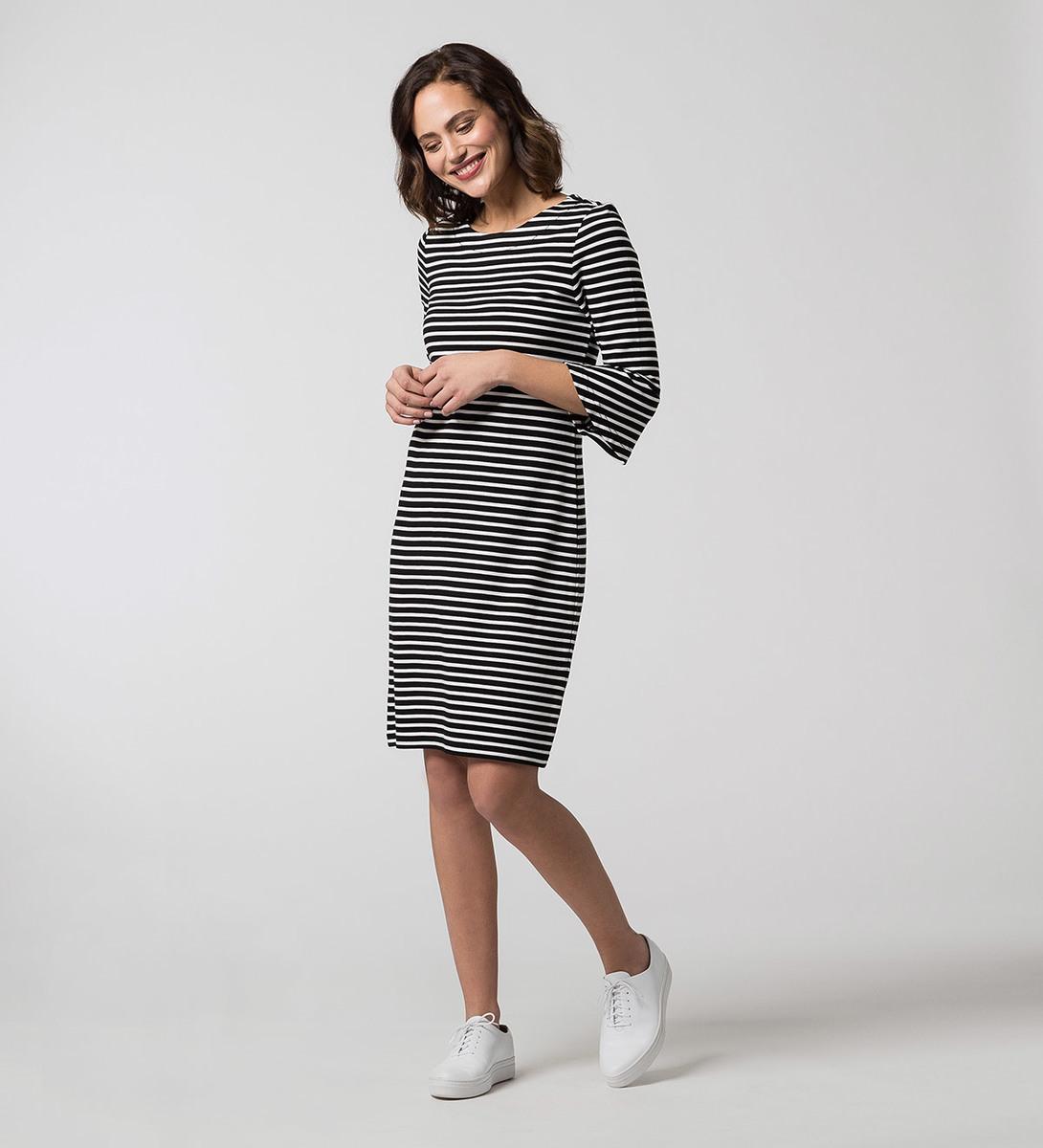 Kleid mit Streifen in black
