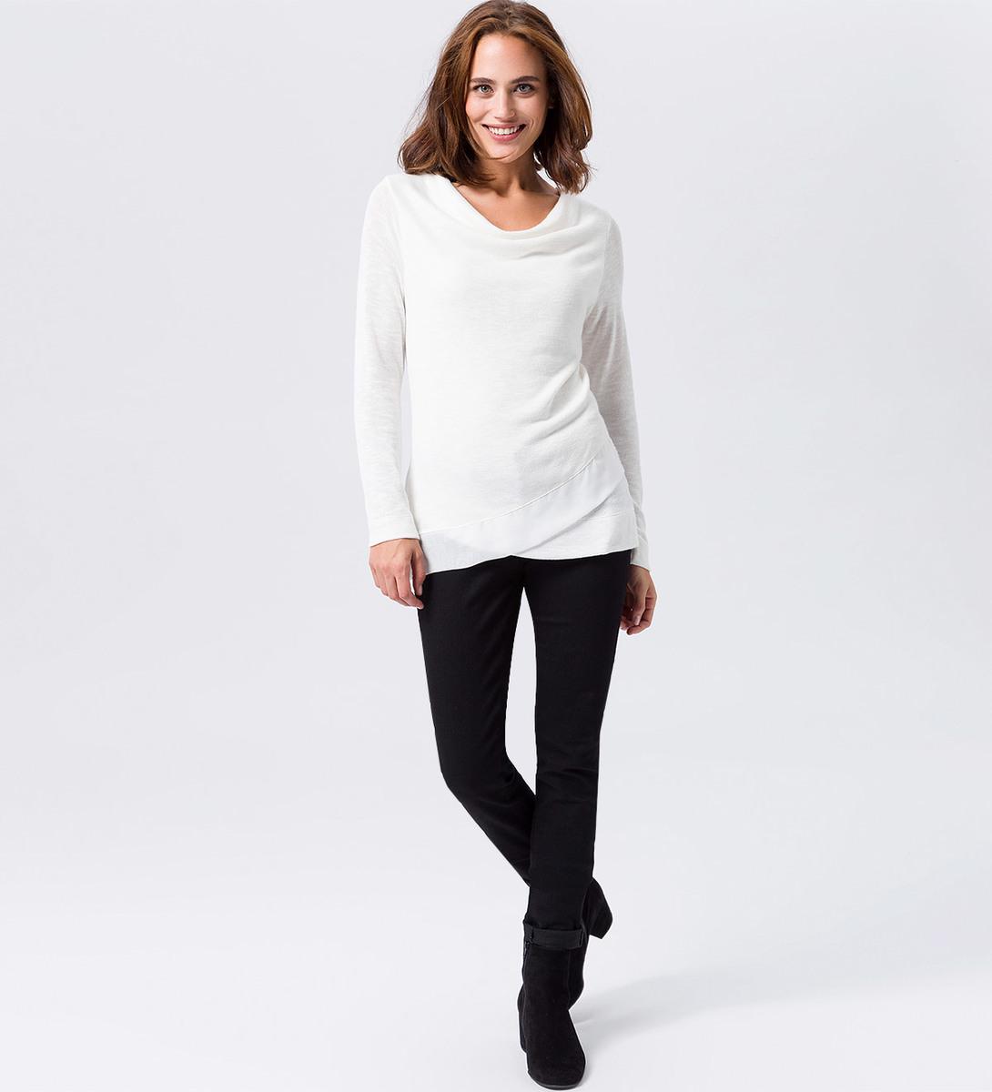 Jersey Sweater im Lagen-Look in offwhite