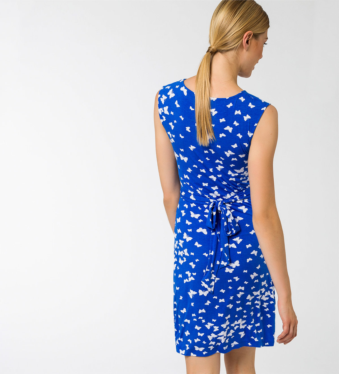 Kleid mit Alloverprint in cobalt blue