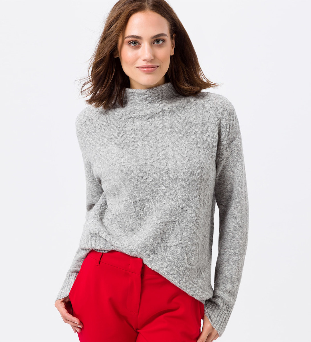 Pullover mit Strickmuster in light grey-m