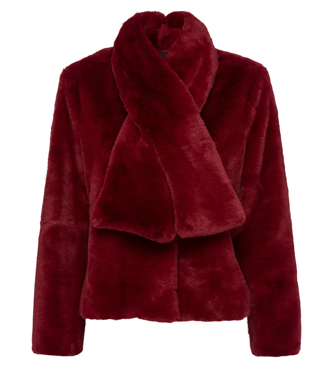 Jacke aus Fellimitat in wine red