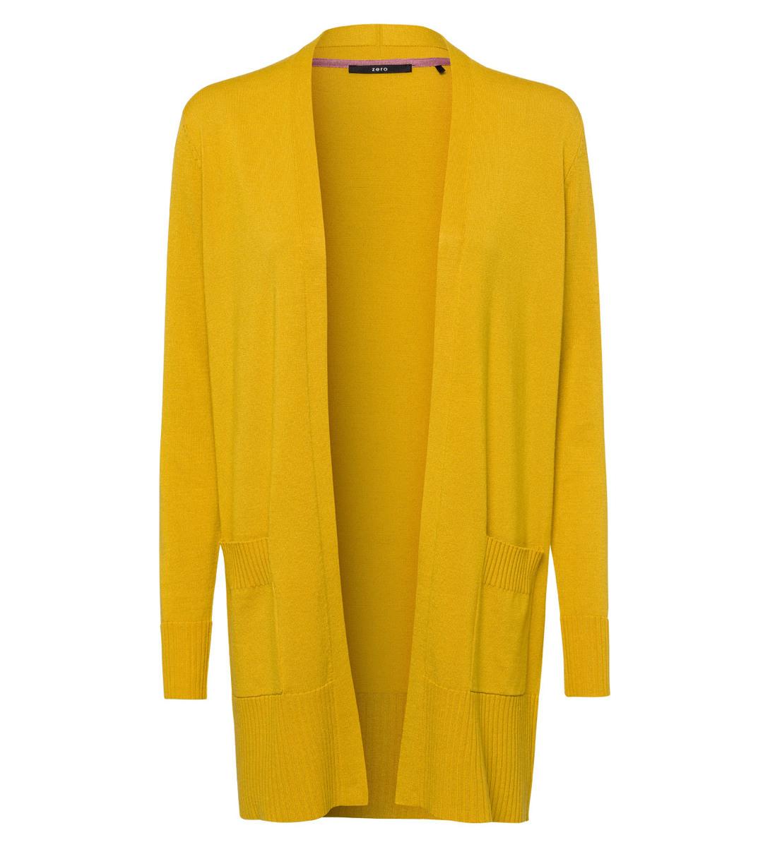 Cardigan im verschlusslosen Design in safran yellow