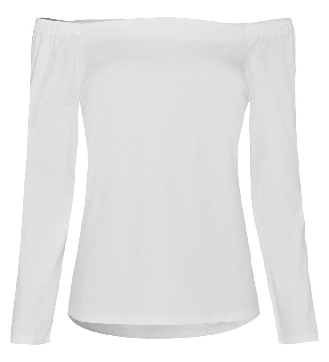 T-Shirt mit U-Boot-Ausschnitt in offwhite