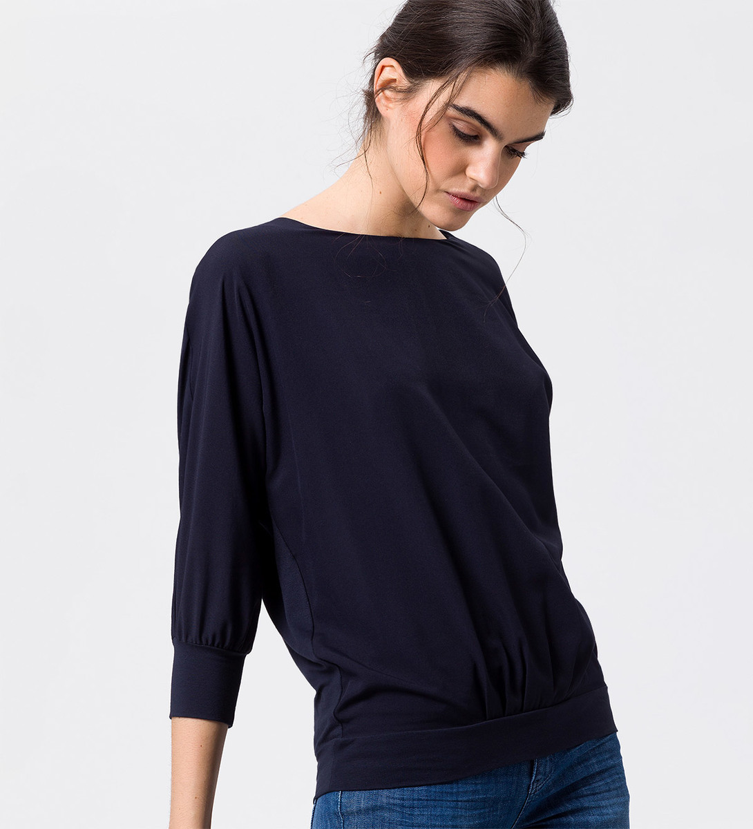 Shirt in unifarbener Optik in blue black