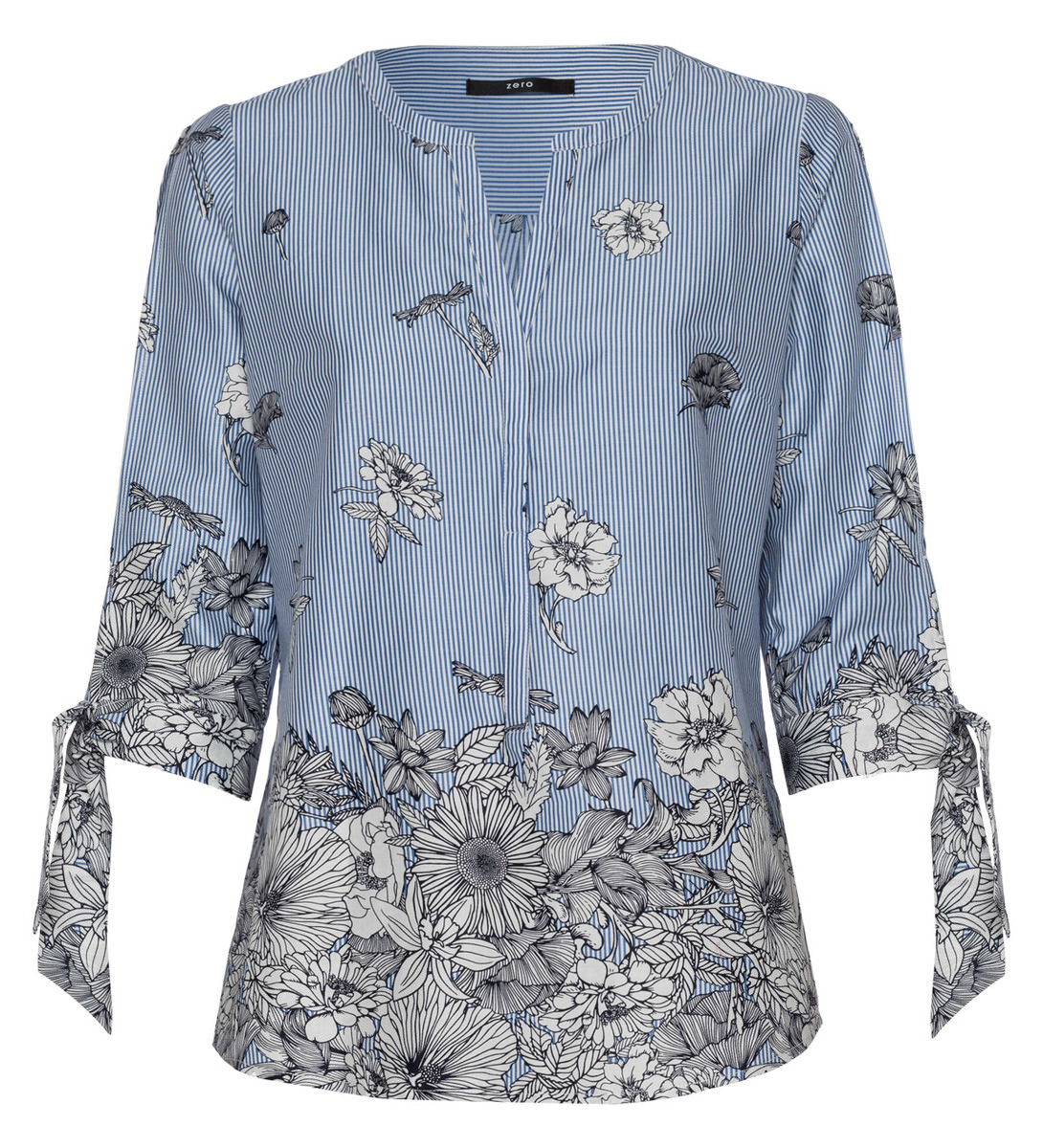 Bluse mit Details in water blue