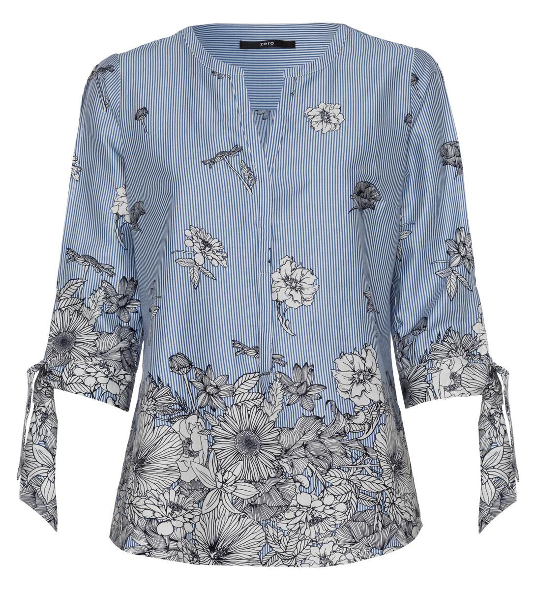 Bluse mit Details in water blue